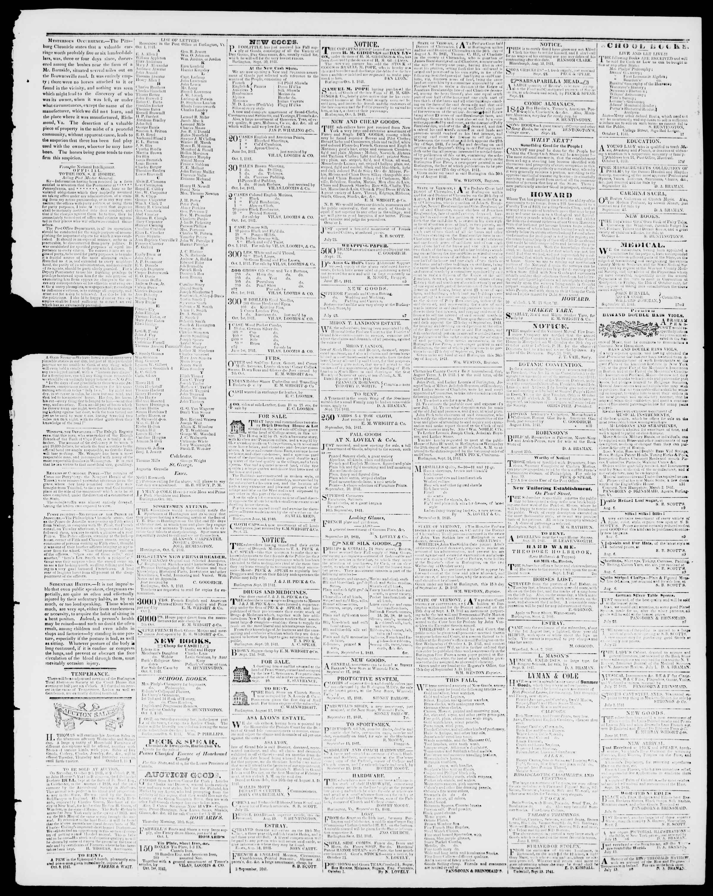 Newspaper of Burlington Free Press dated October 8, 1841 Page 3