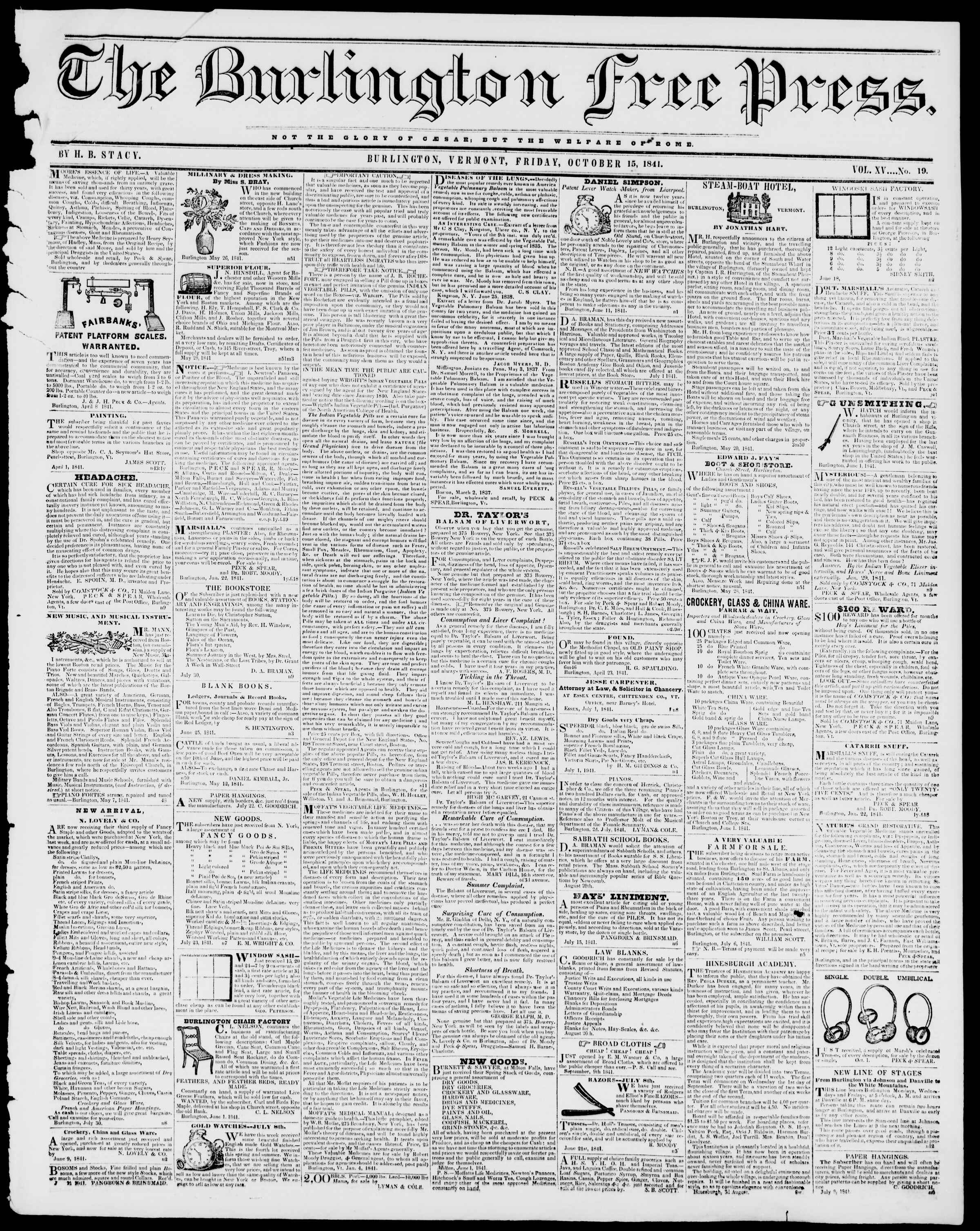 Newspaper of Burlington Free Press dated 15 Ekim 1841 Page 1