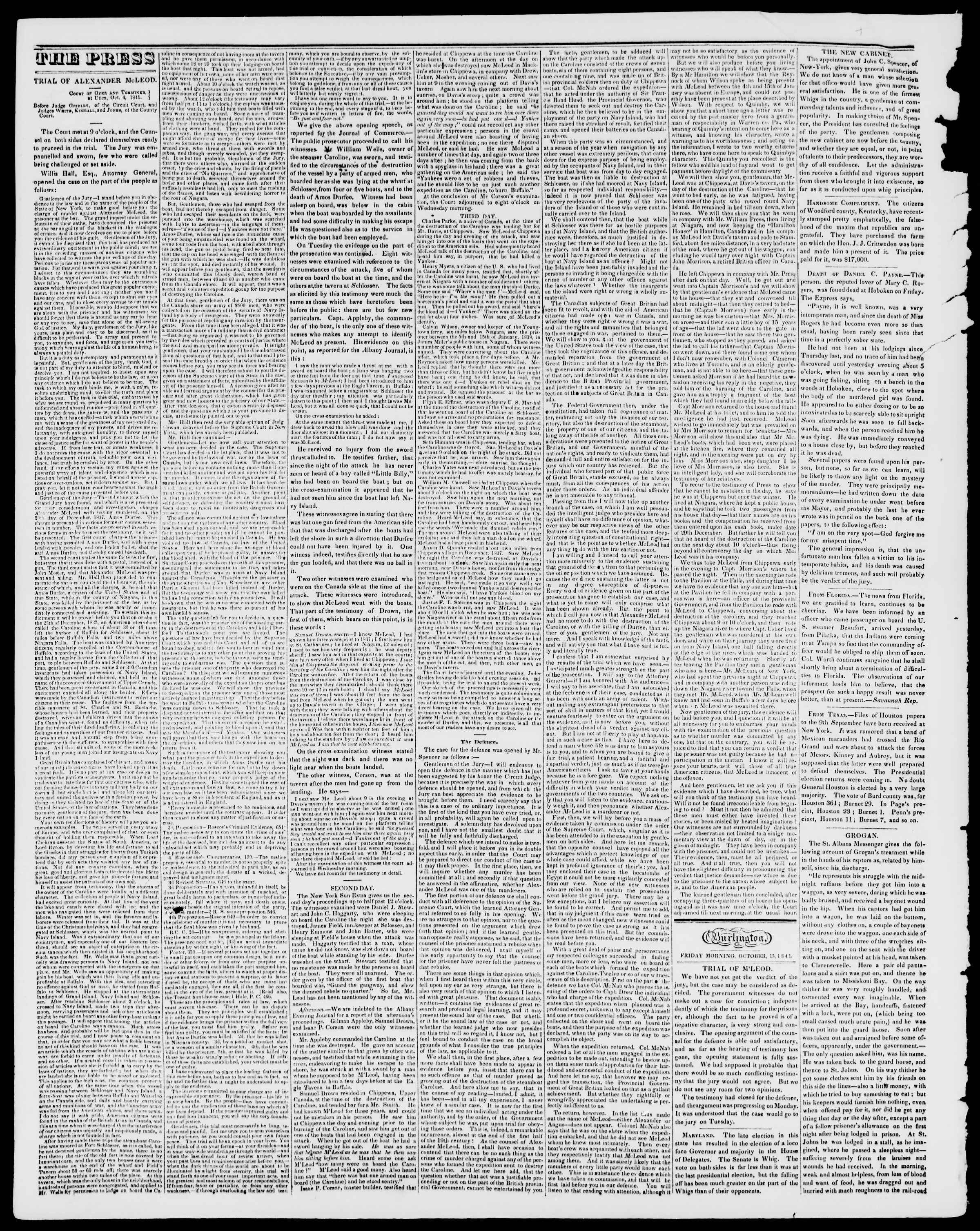 Newspaper of Burlington Free Press dated October 15, 1841 Page 2