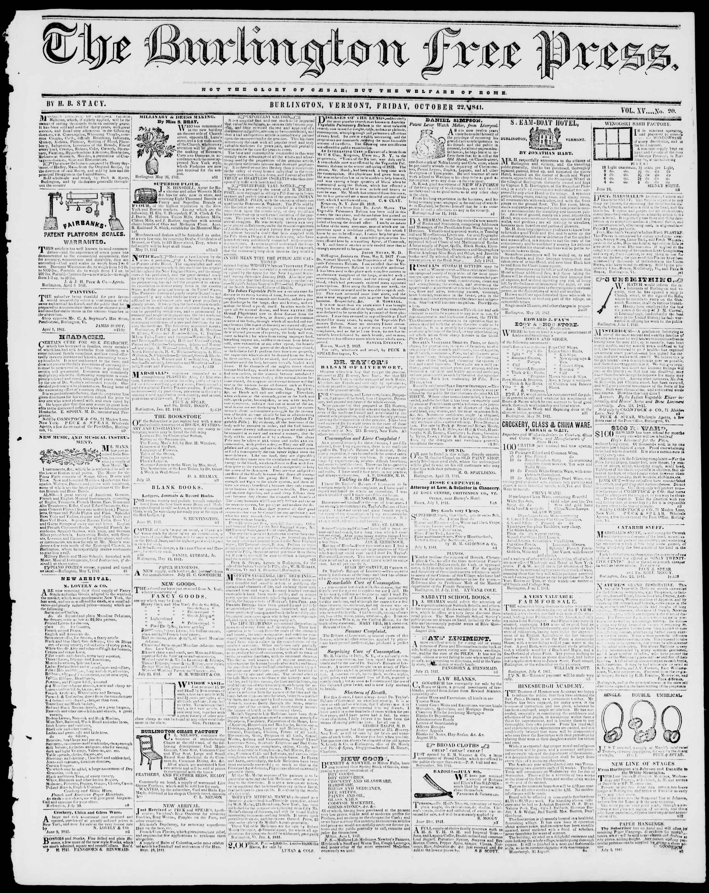 Newspaper of Burlington Free Press dated October 22, 1841 Page 1