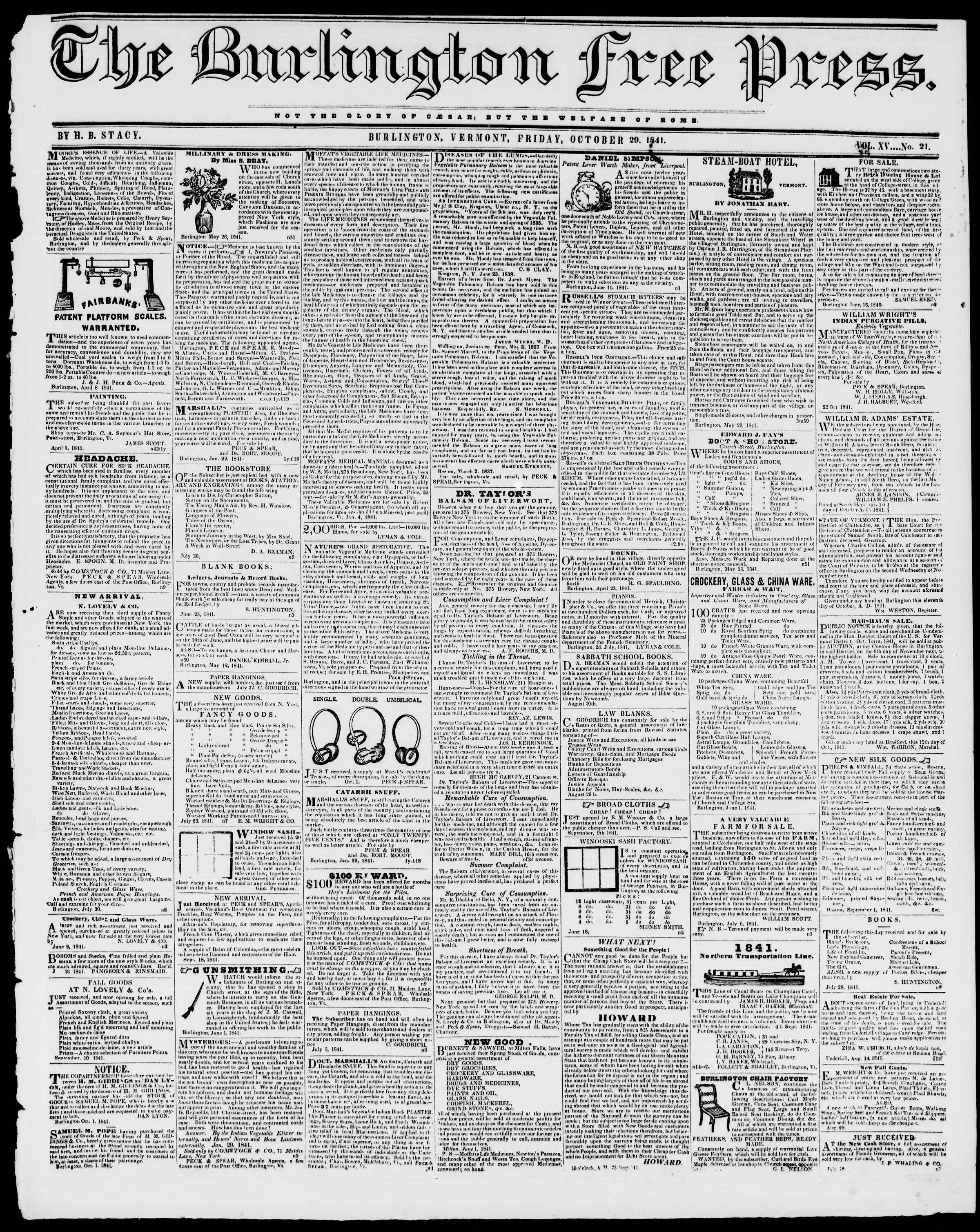 Newspaper of Burlington Free Press dated October 29, 1841 Page 1