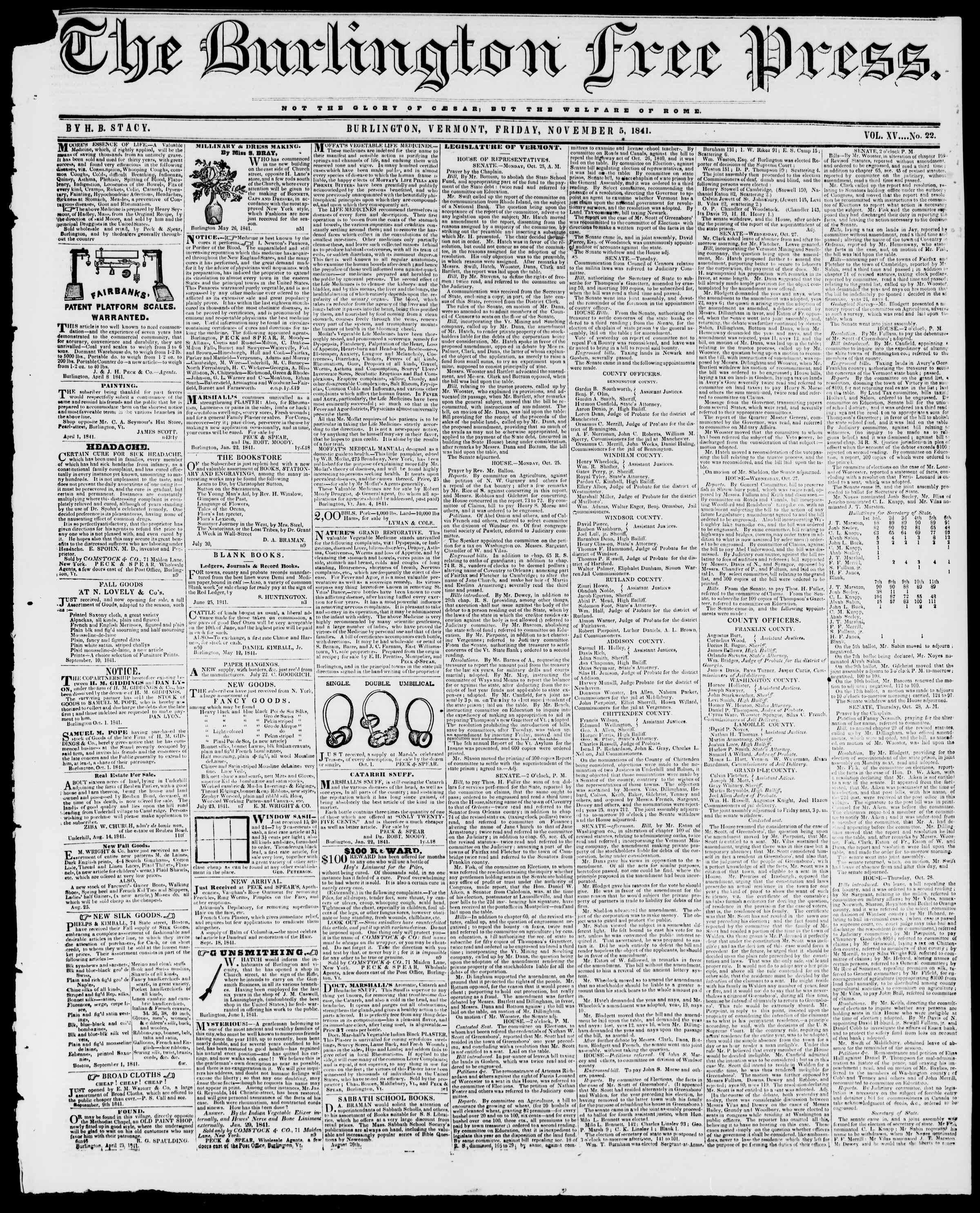 Newspaper of Burlington Free Press dated November 5, 1841 Page 1