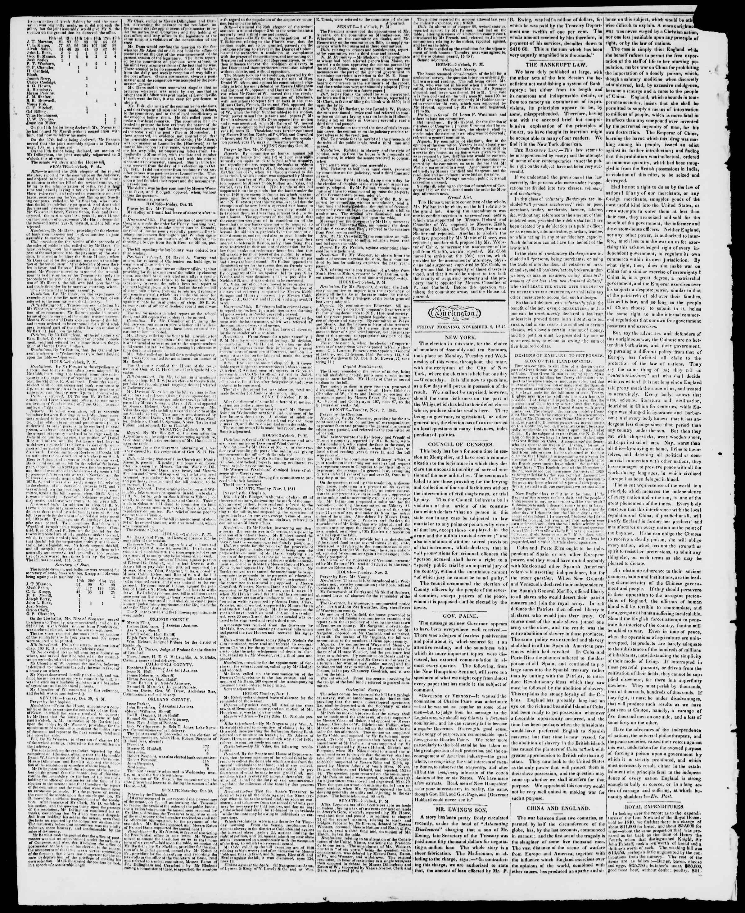Newspaper of Burlington Free Press dated November 5, 1841 Page 2