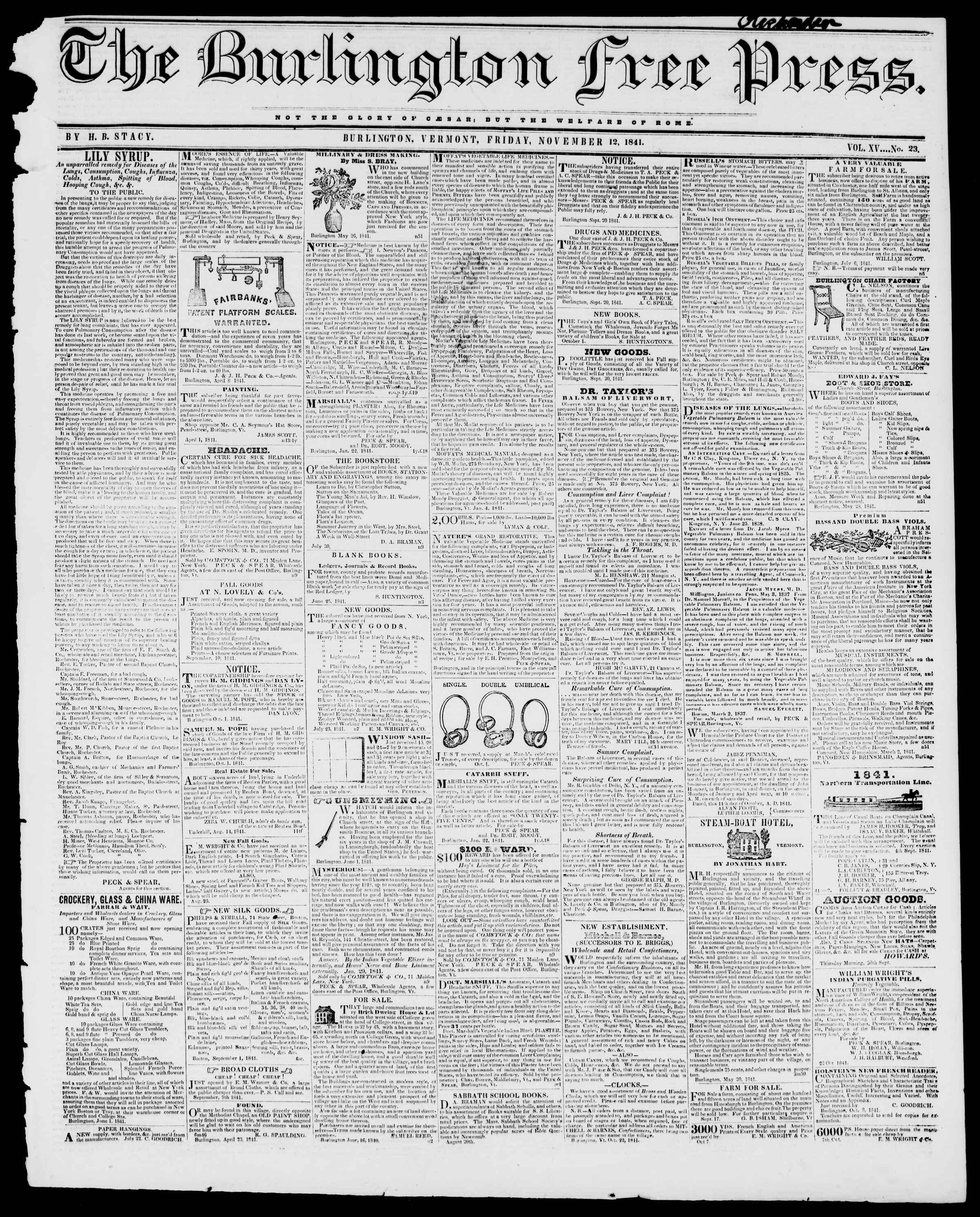 Newspaper of Burlington Free Press dated November 12, 1841 Page 1