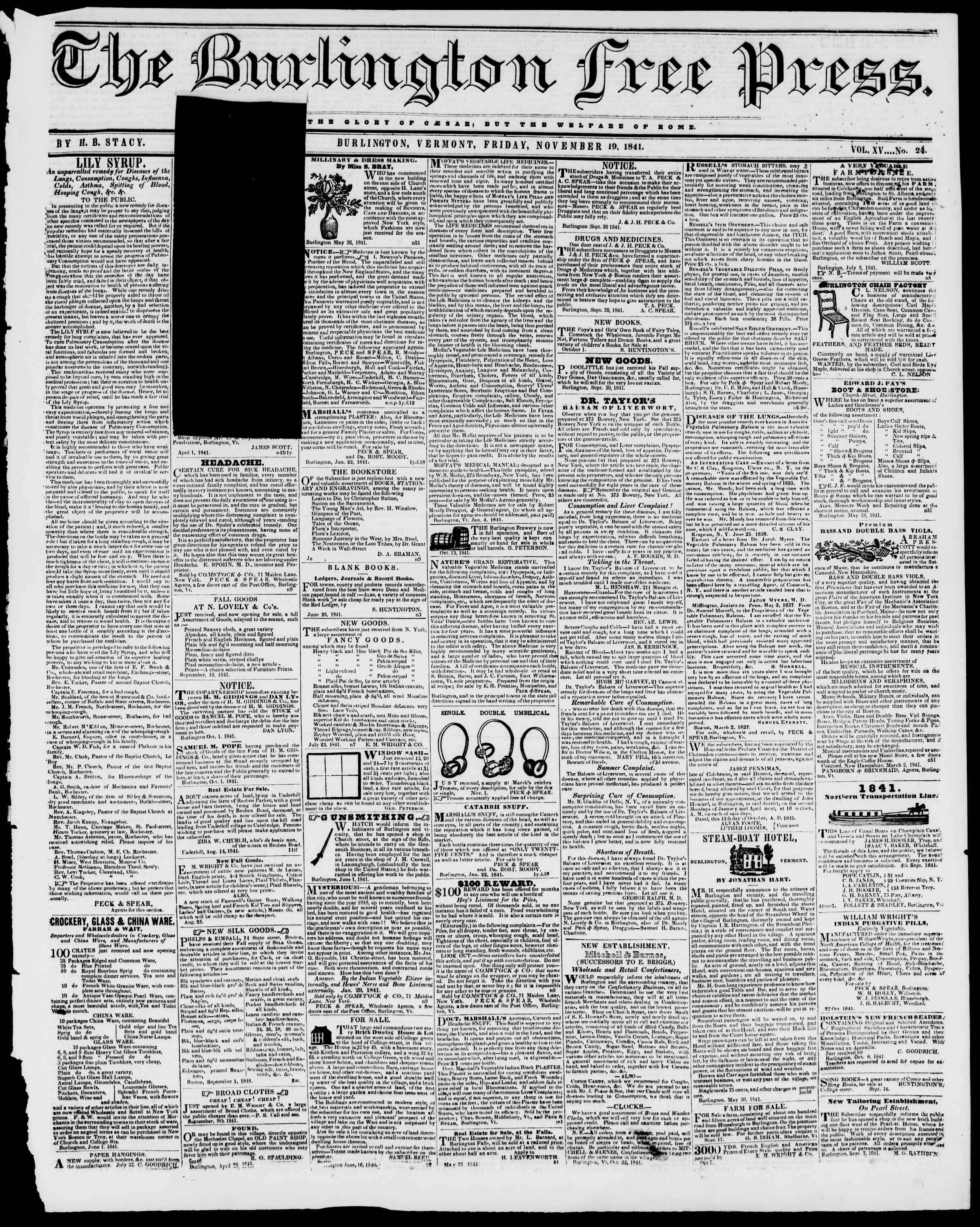 Newspaper of Burlington Free Press dated November 19, 1841 Page 1
