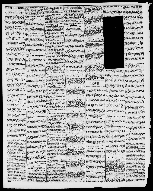 Newspaper of Burlington Free Press dated November 19, 1841 Page 2