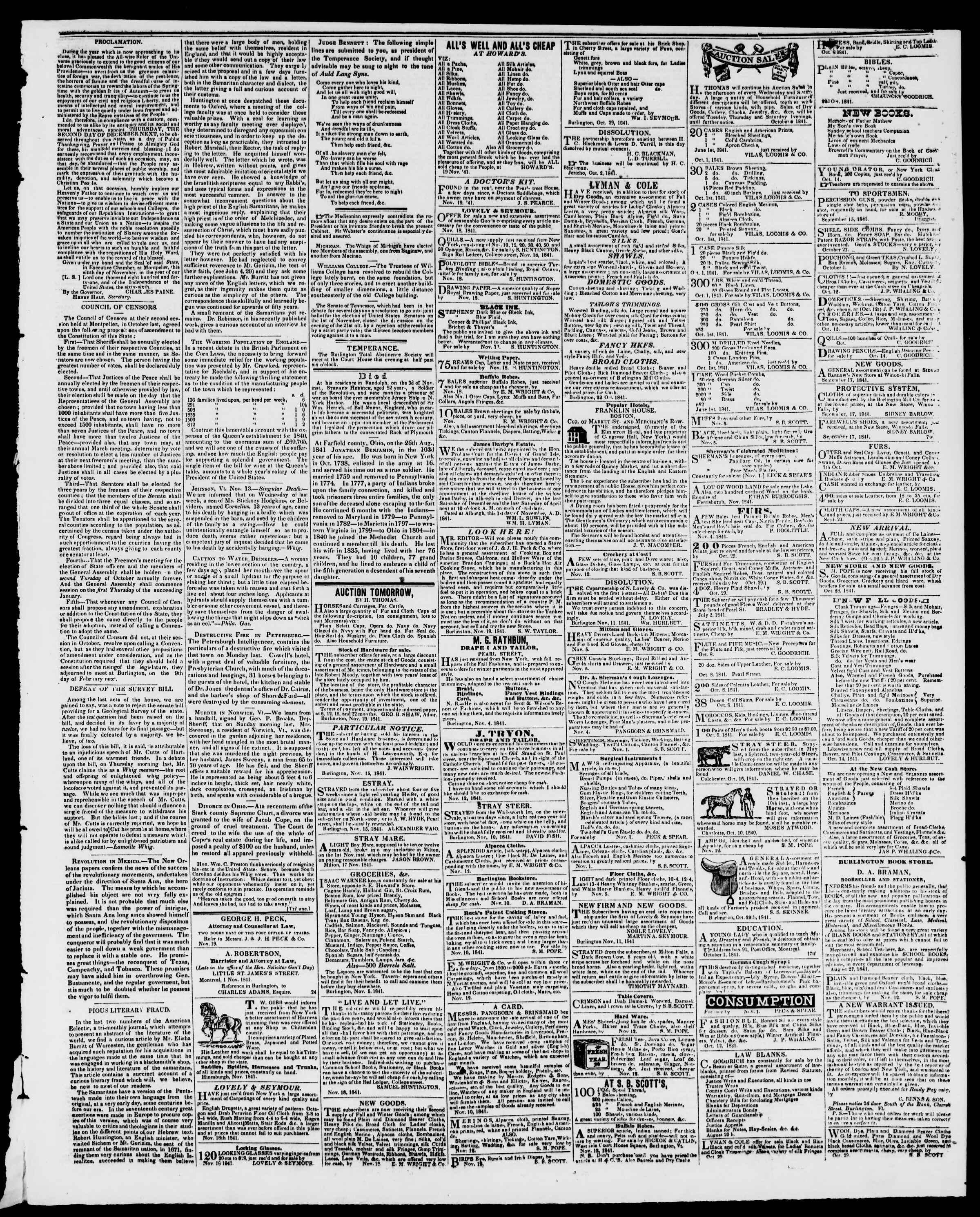 Newspaper of Burlington Free Press dated November 19, 1841 Page 3