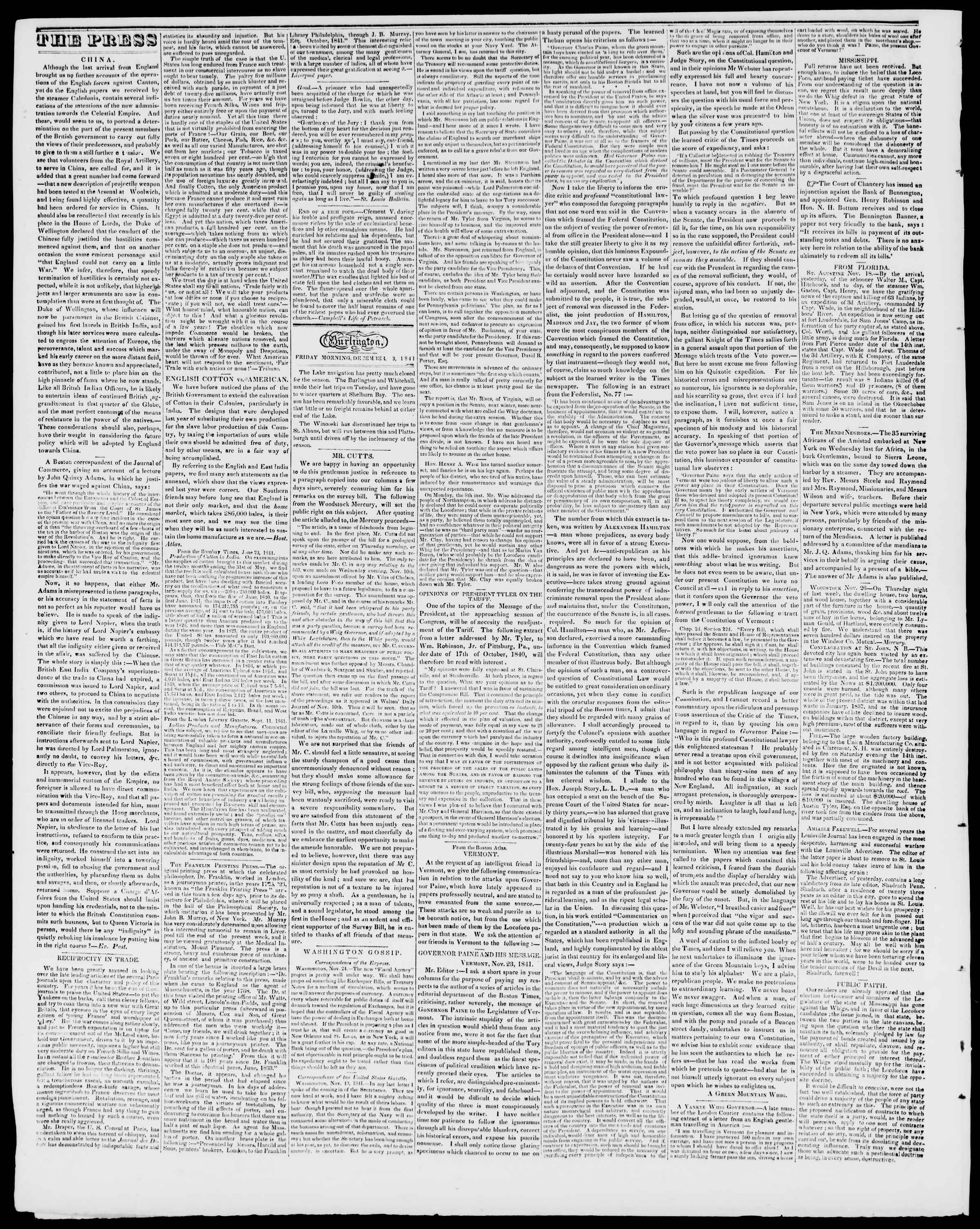 Newspaper of Burlington Free Press dated December 3, 1841 Page 2