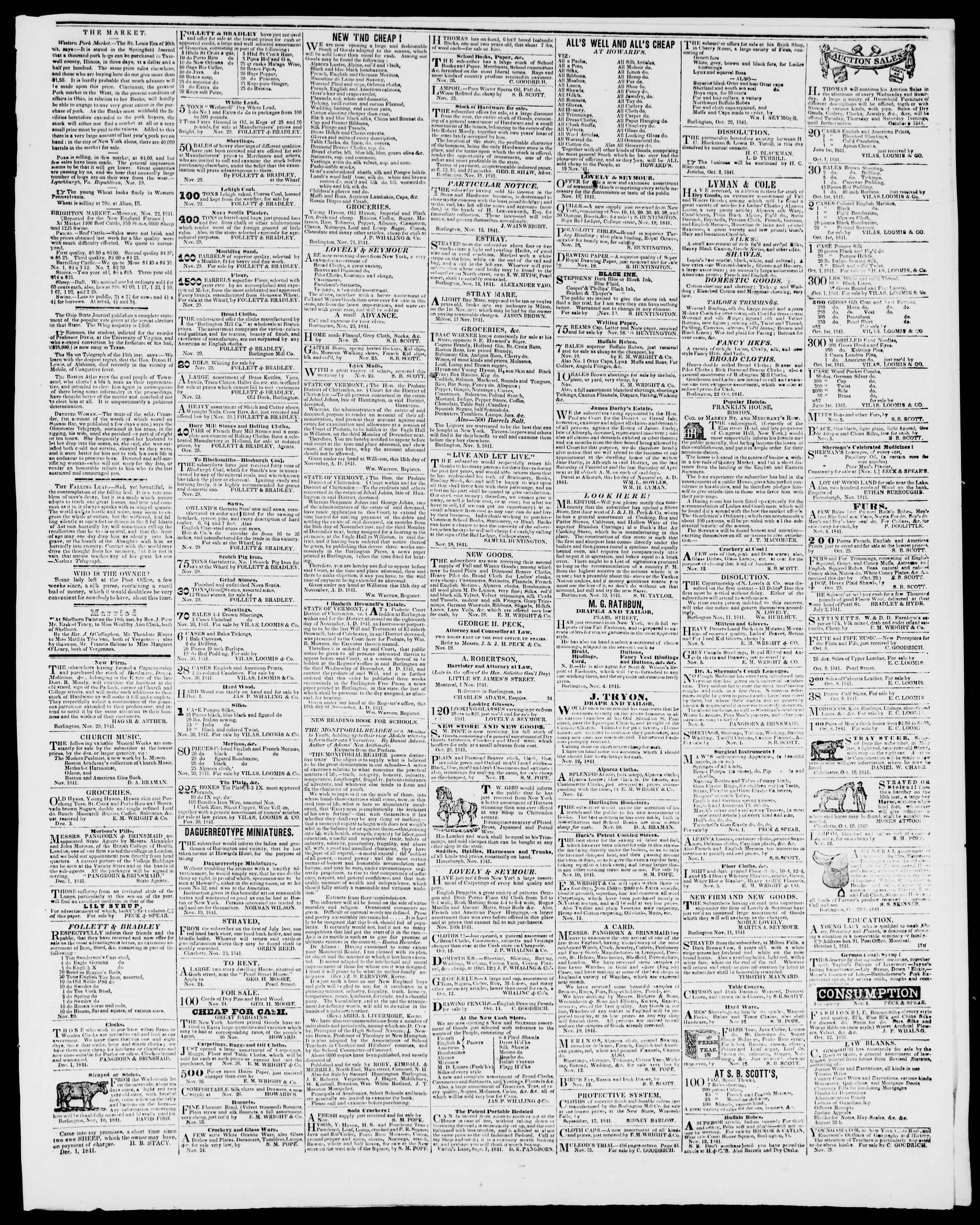 Newspaper of Burlington Free Press dated December 3, 1841 Page 3