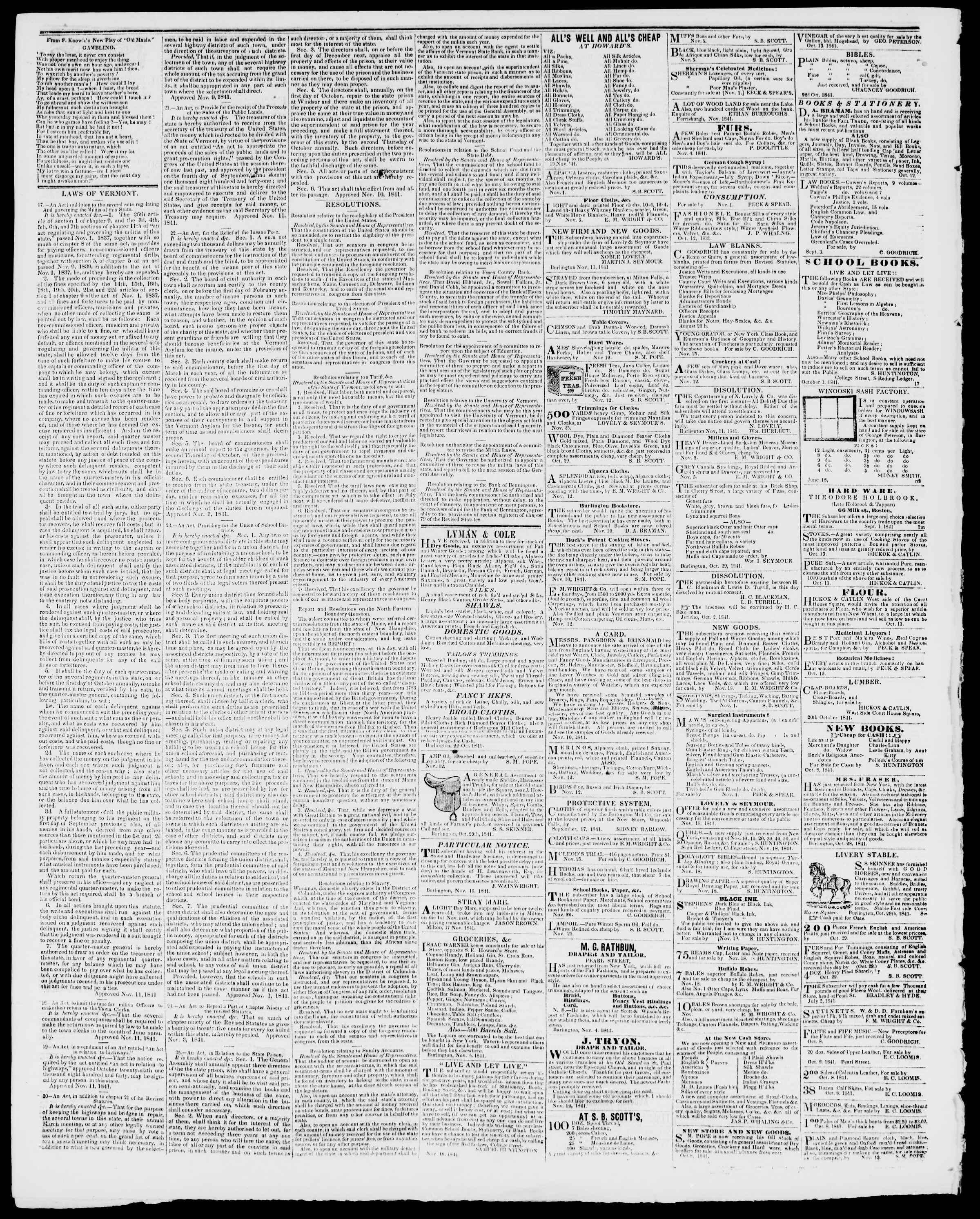 Newspaper of Burlington Free Press dated December 10, 1841 Page 4