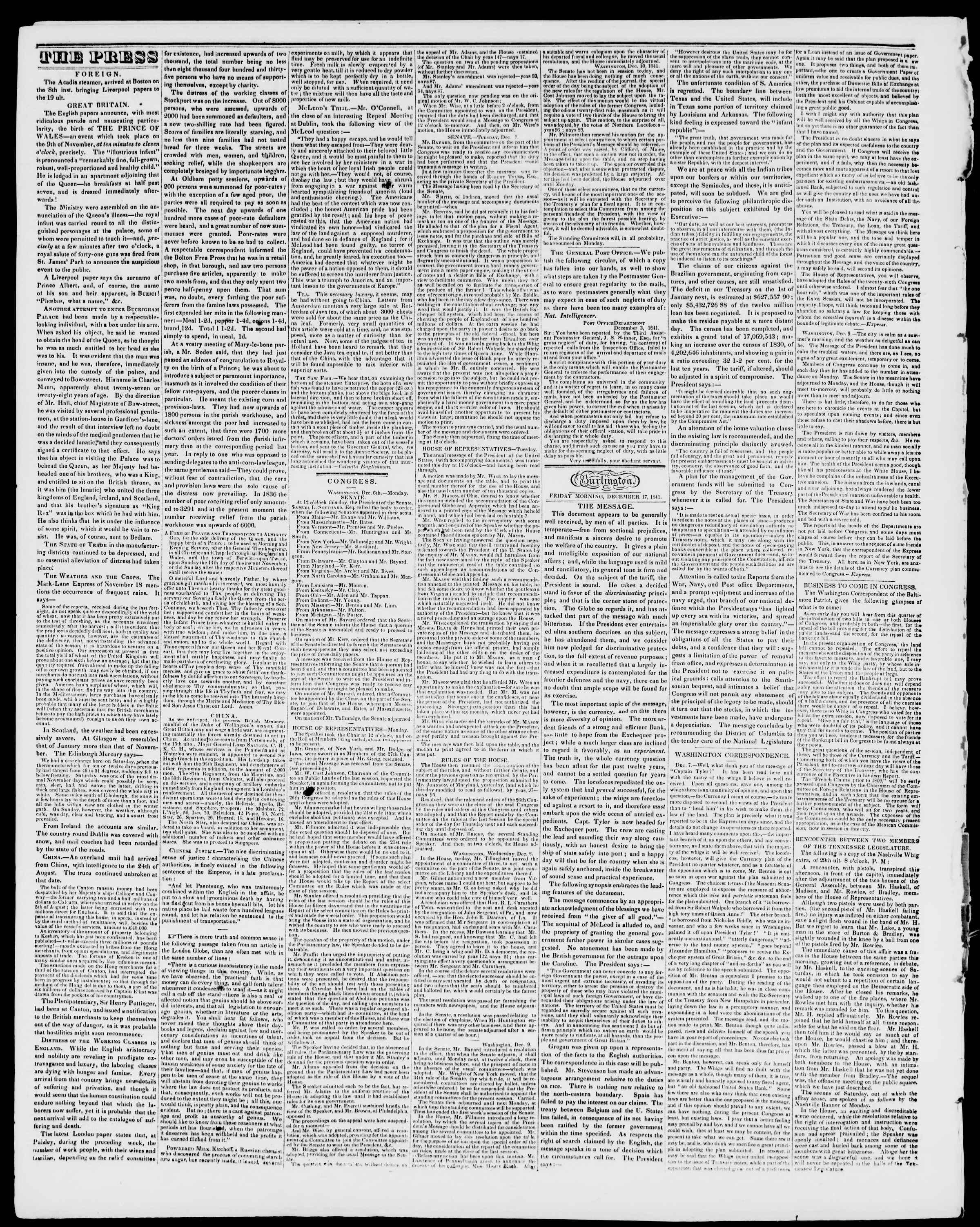 Newspaper of Burlington Free Press dated December 17, 1841 Page 2