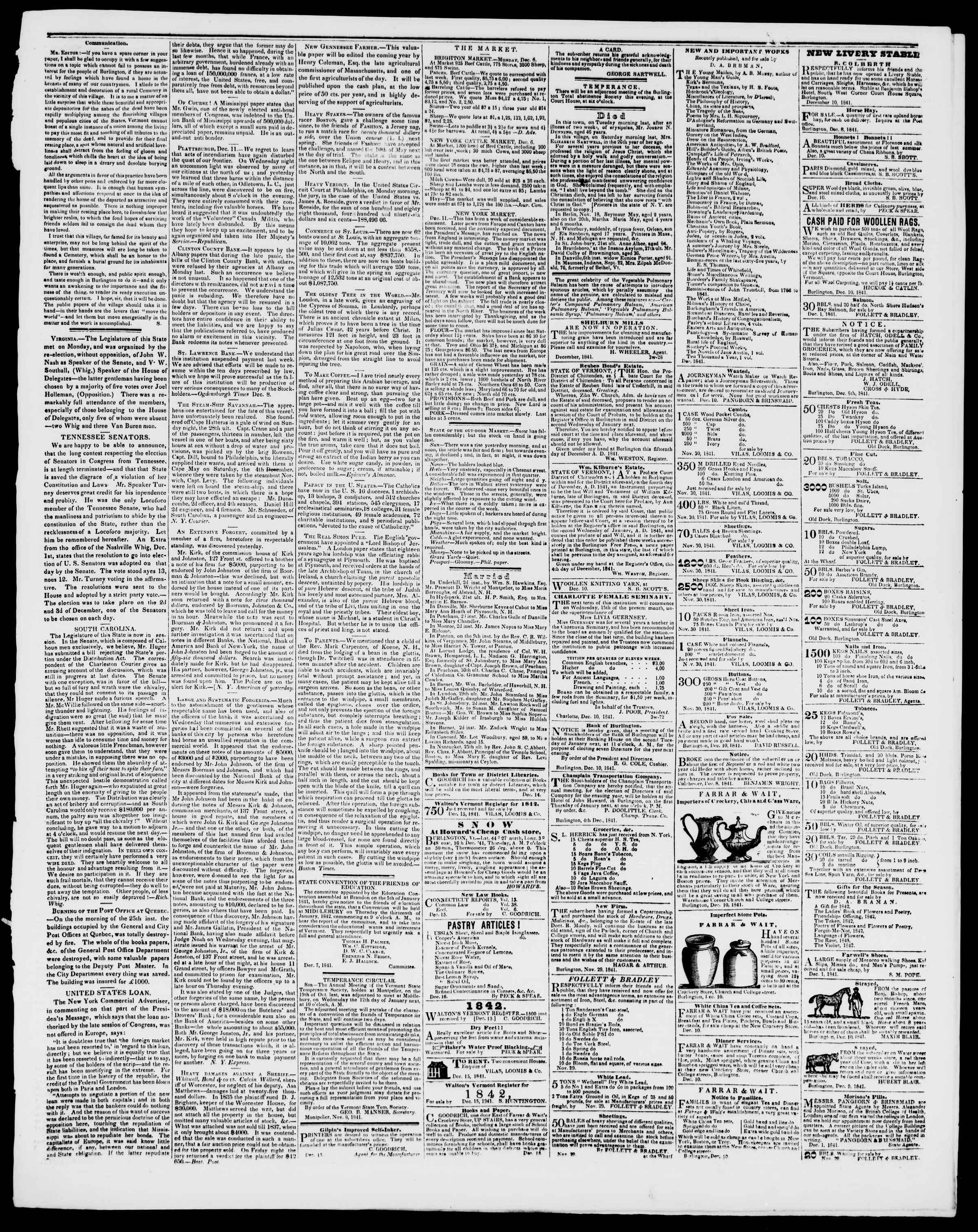Newspaper of Burlington Free Press dated December 17, 1841 Page 3