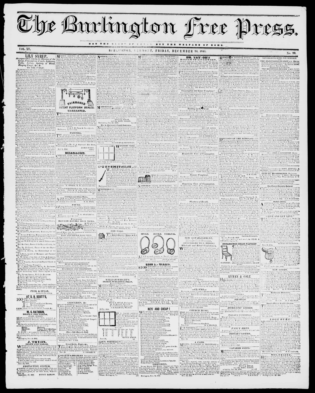 Newspaper of Burlington Free Press dated December 24, 1841 Page 1