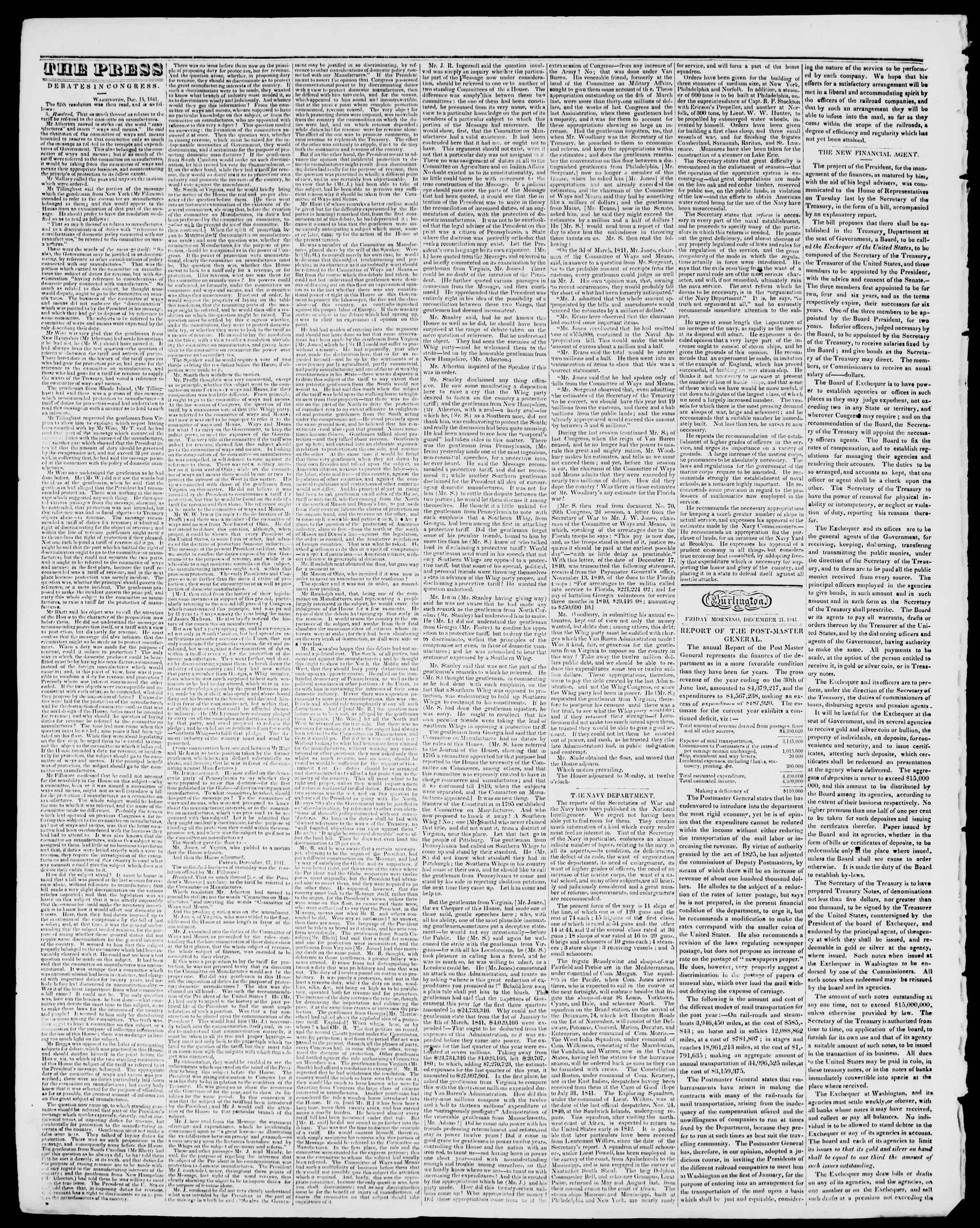 Newspaper of Burlington Free Press dated December 31, 1841 Page 2
