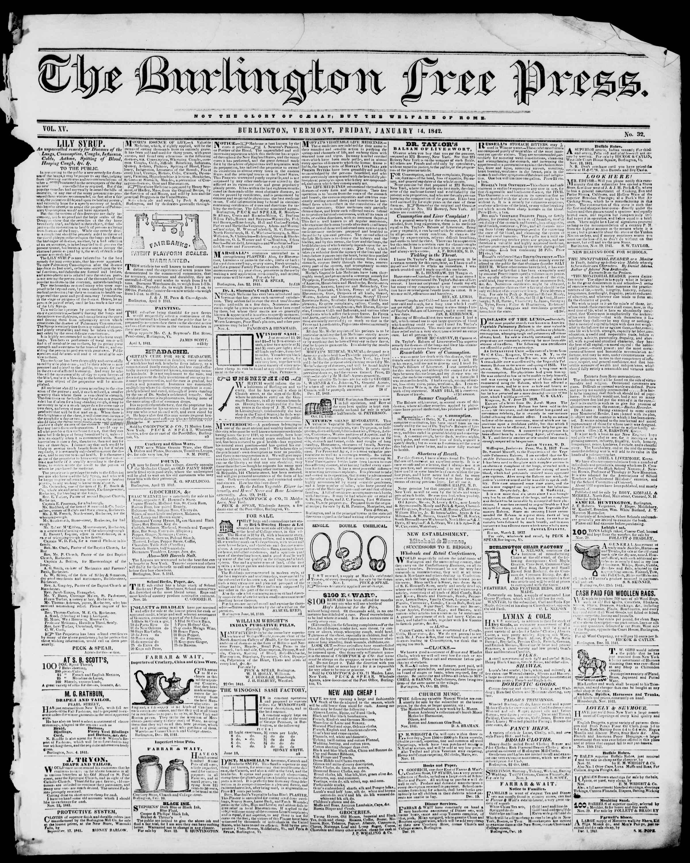 14 Ocak 1842 tarihli Burlington Free Press Gazetesi Sayfa 1