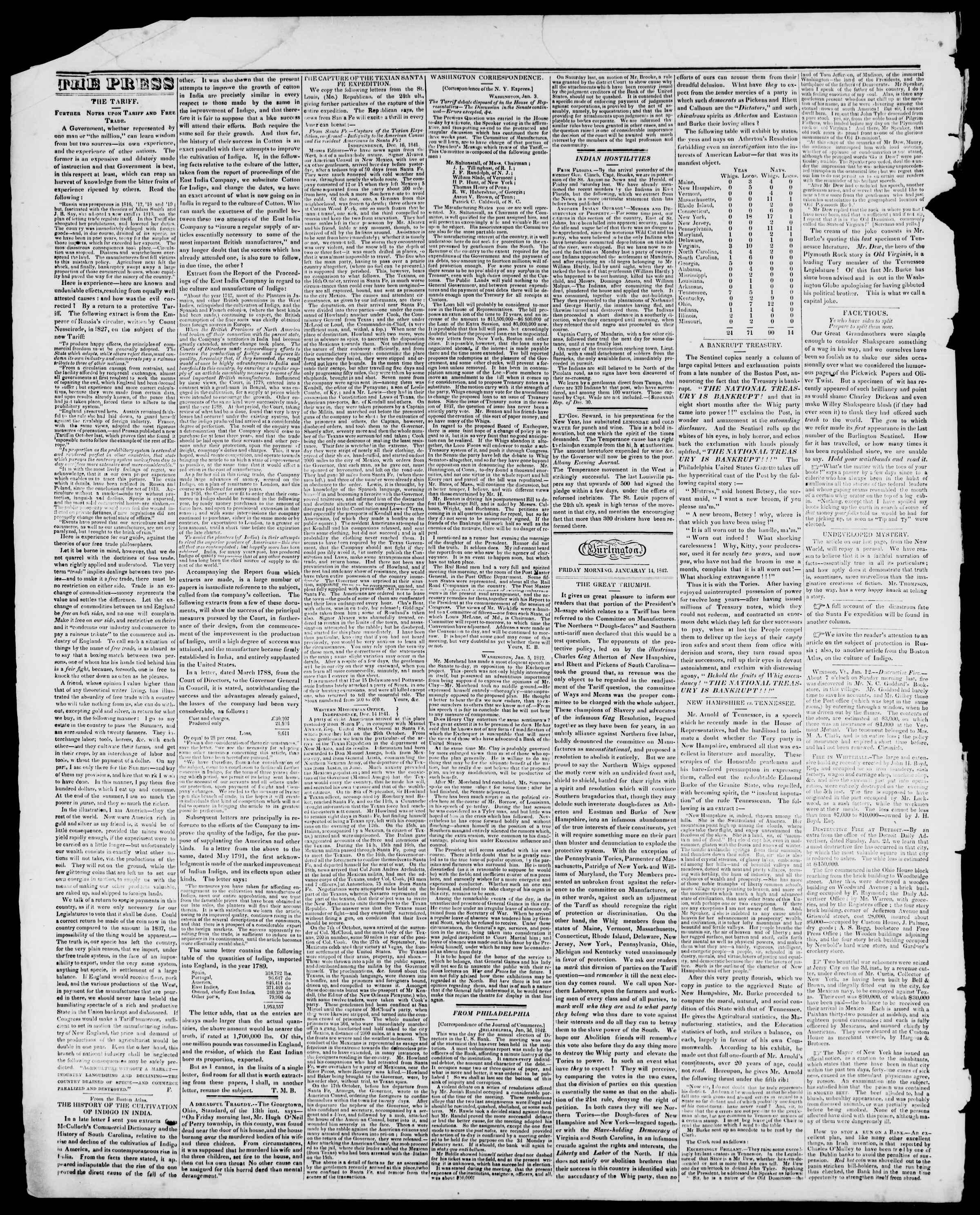 Newspaper of Burlington Free Press dated January 14, 1842 Page 2