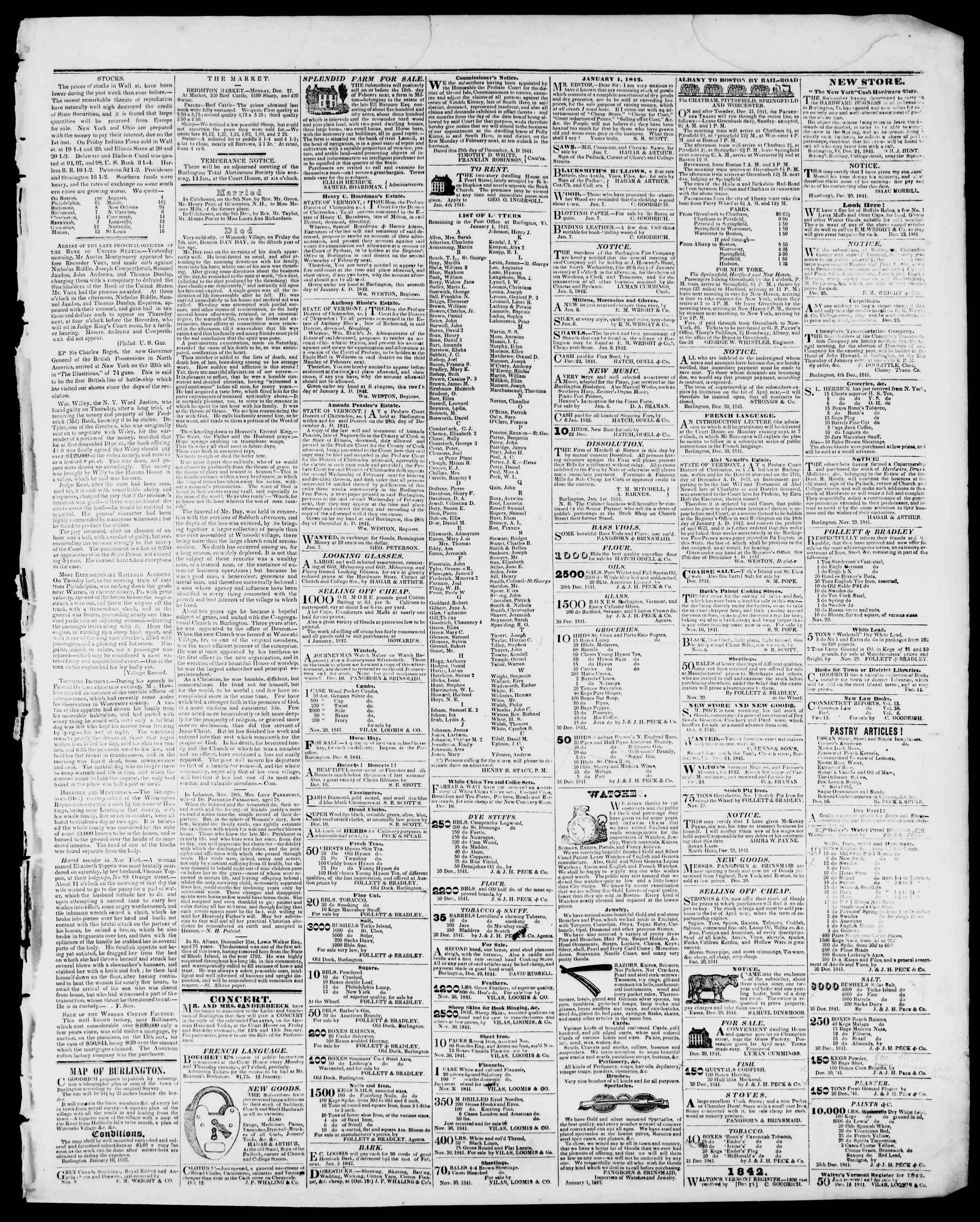 Newspaper of Burlington Free Press dated January 14, 1842 Page 3