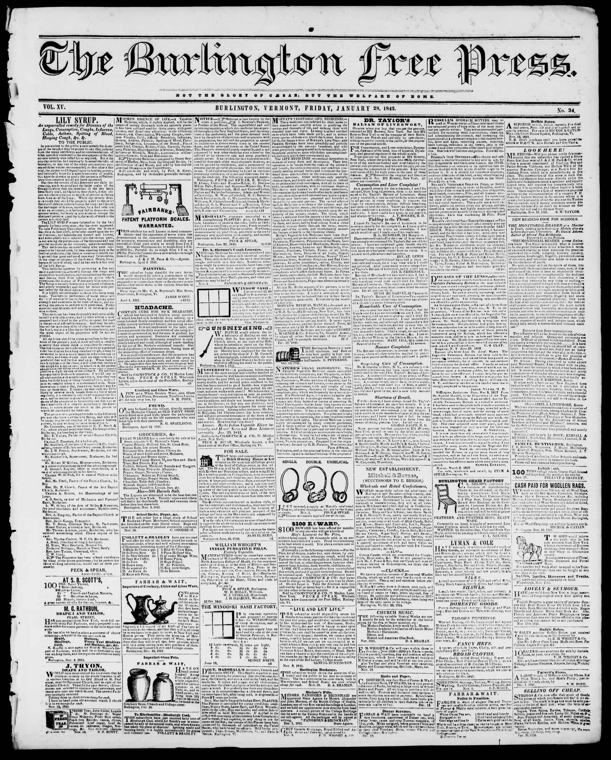 Newspaper of Burlington Free Press dated January 28, 1842 Page 1