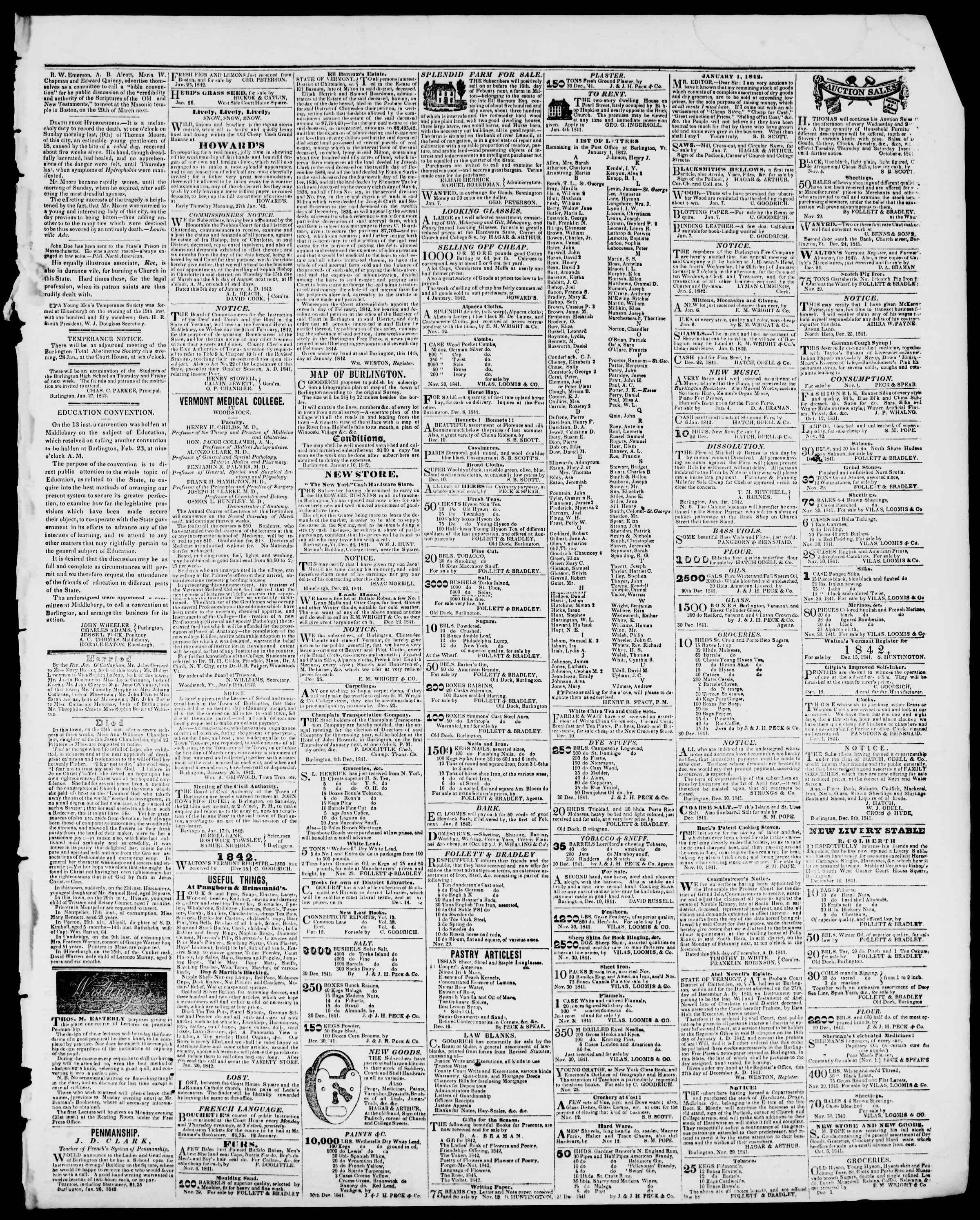 Newspaper of Burlington Free Press dated January 28, 1842 Page 3