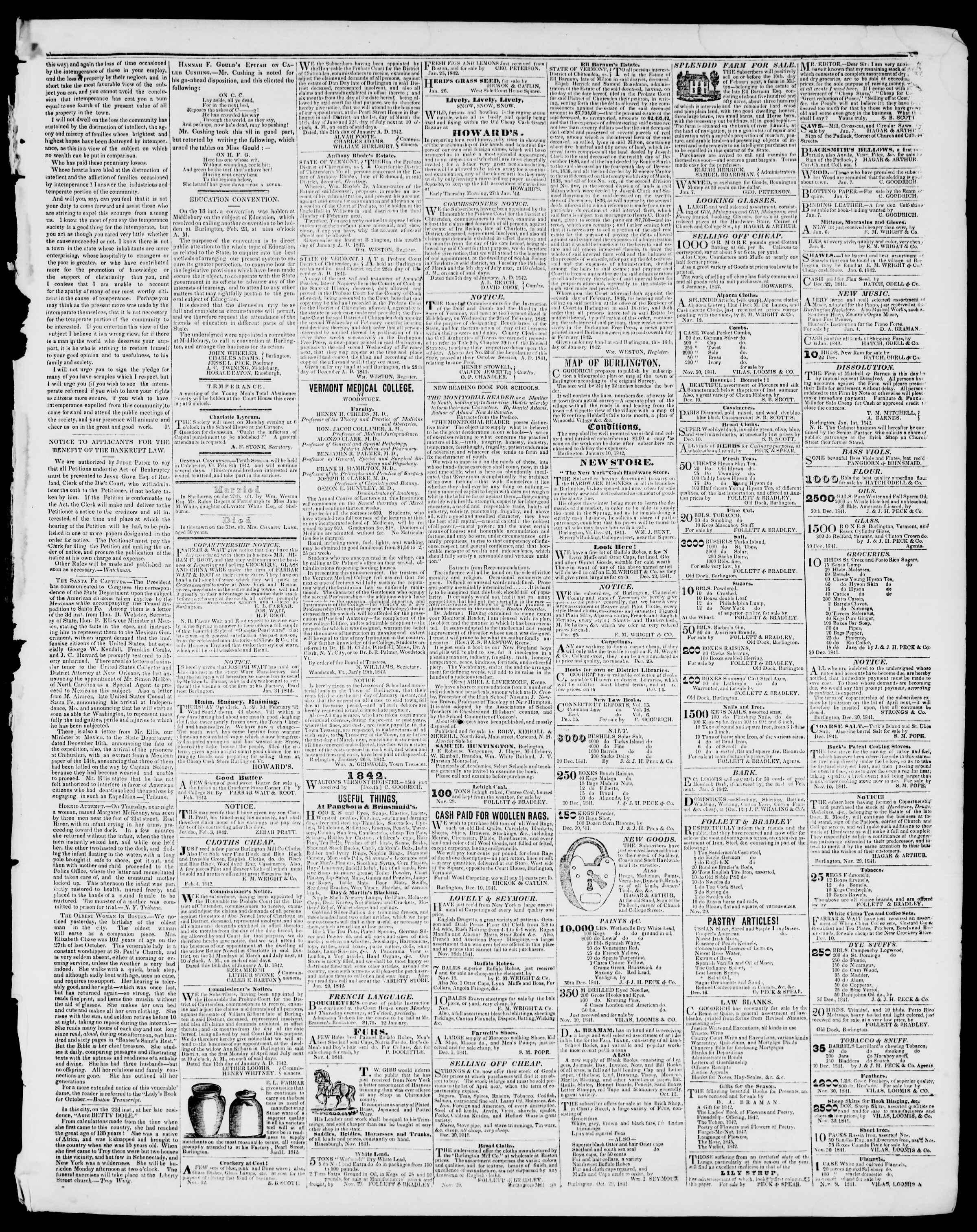 Newspaper of Burlington Free Press dated February 4, 1842 Page 3