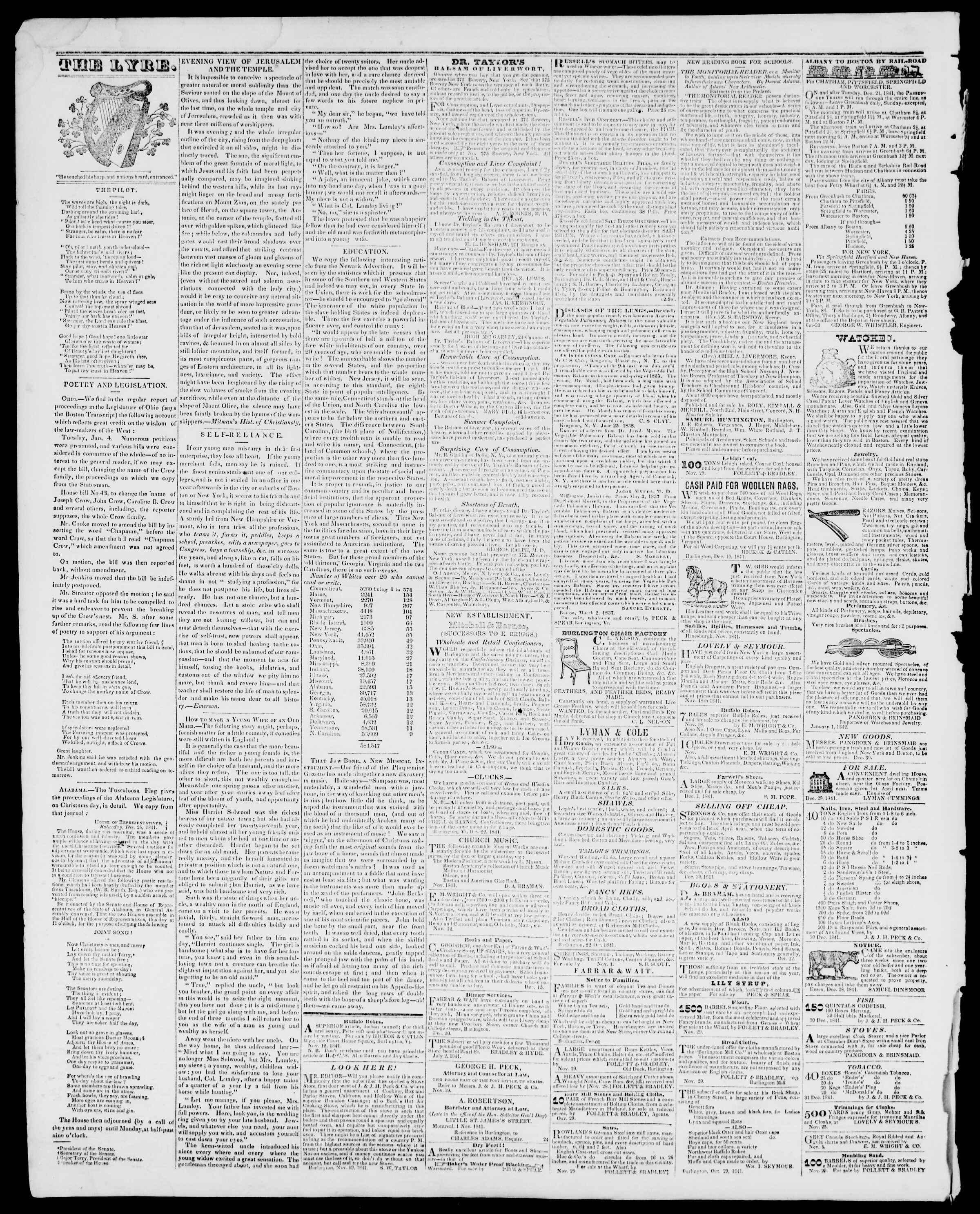 Newspaper of Burlington Free Press dated February 4, 1842 Page 4
