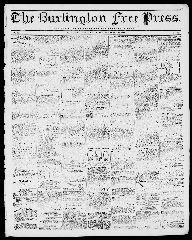 Newspaper of Burlington Free Press dated February 18, 1842 Page 1
