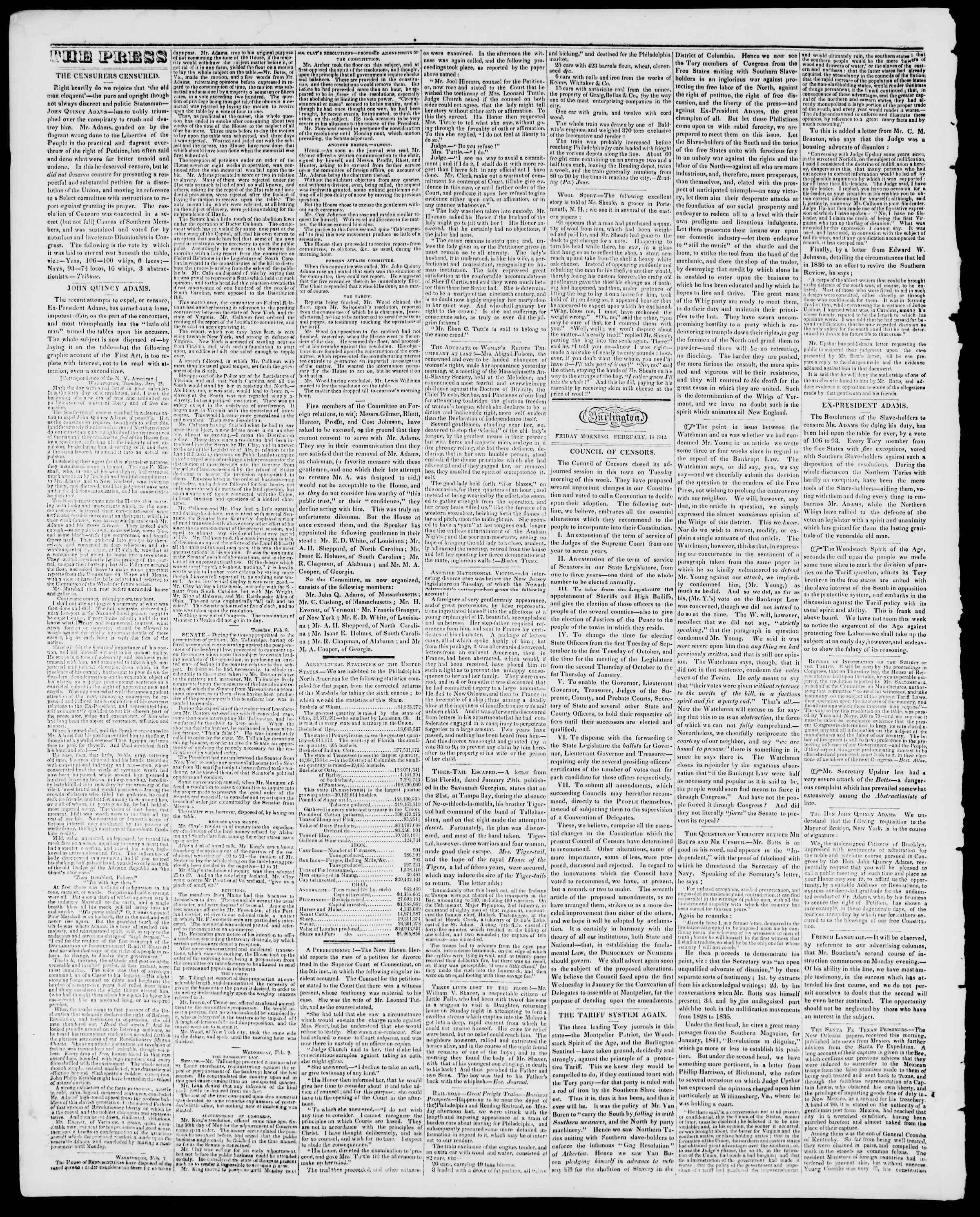 Newspaper of Burlington Free Press dated February 18, 1842 Page 2