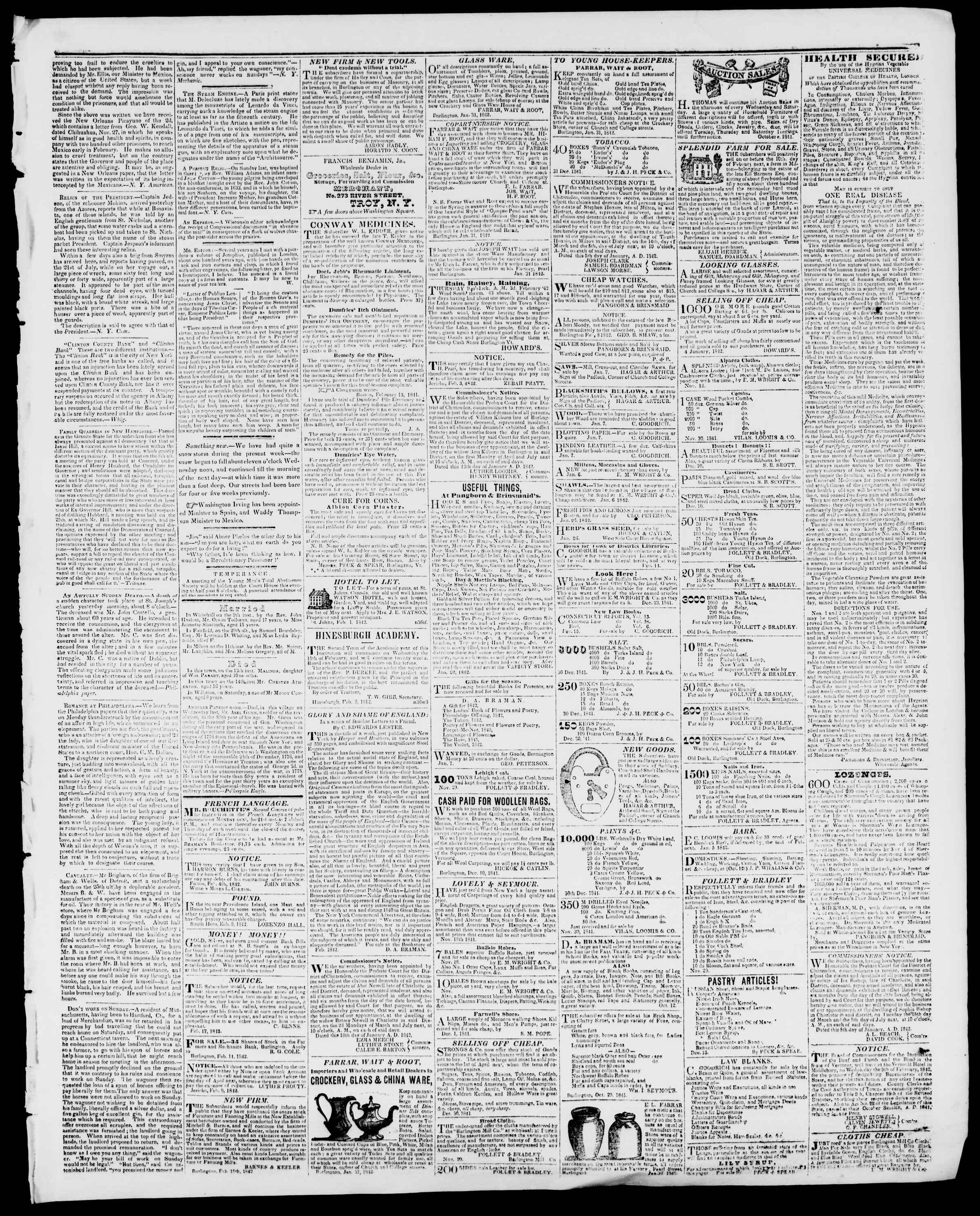 Newspaper of Burlington Free Press dated February 18, 1842 Page 3
