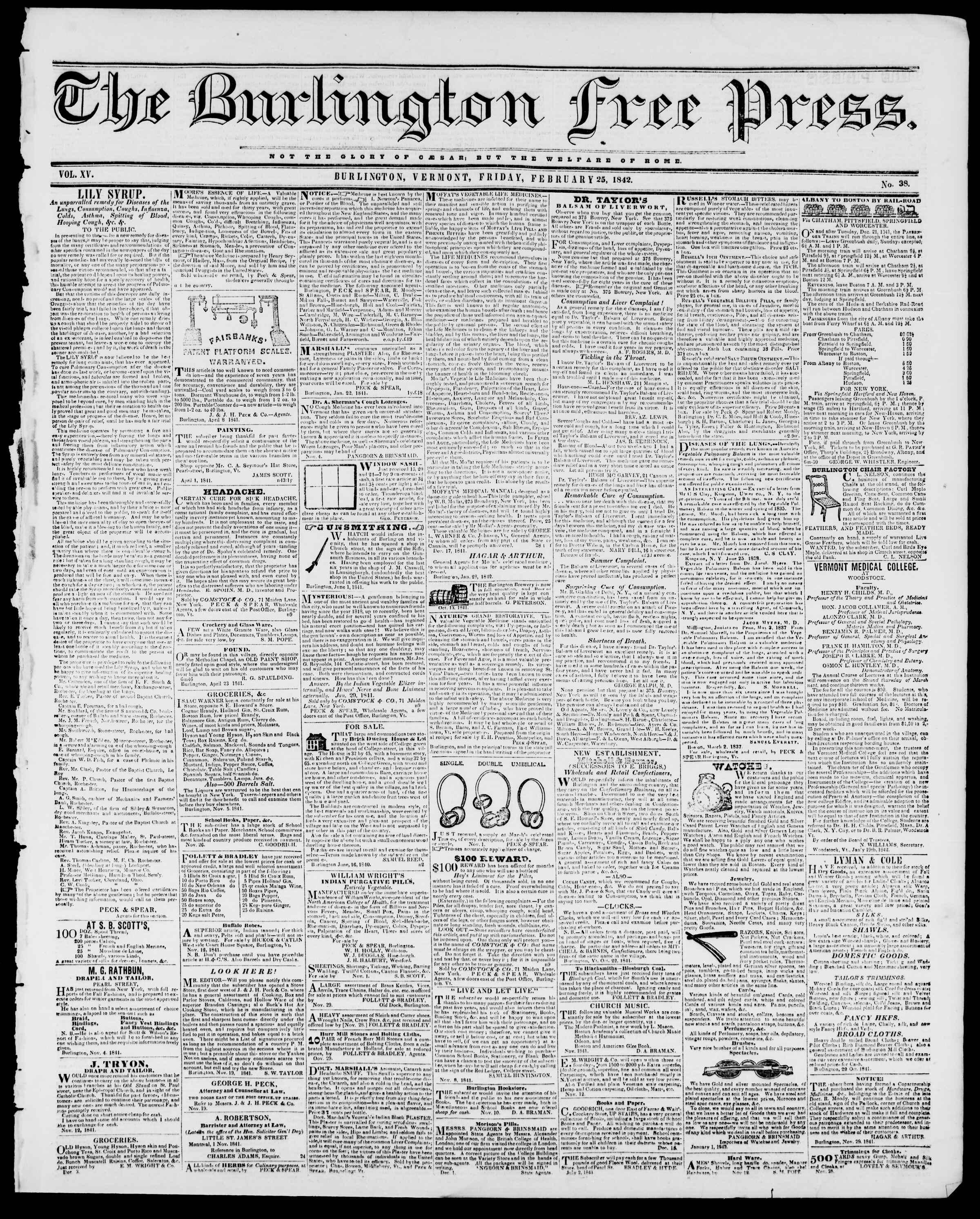 Newspaper of Burlington Free Press dated February 25, 1842 Page 1