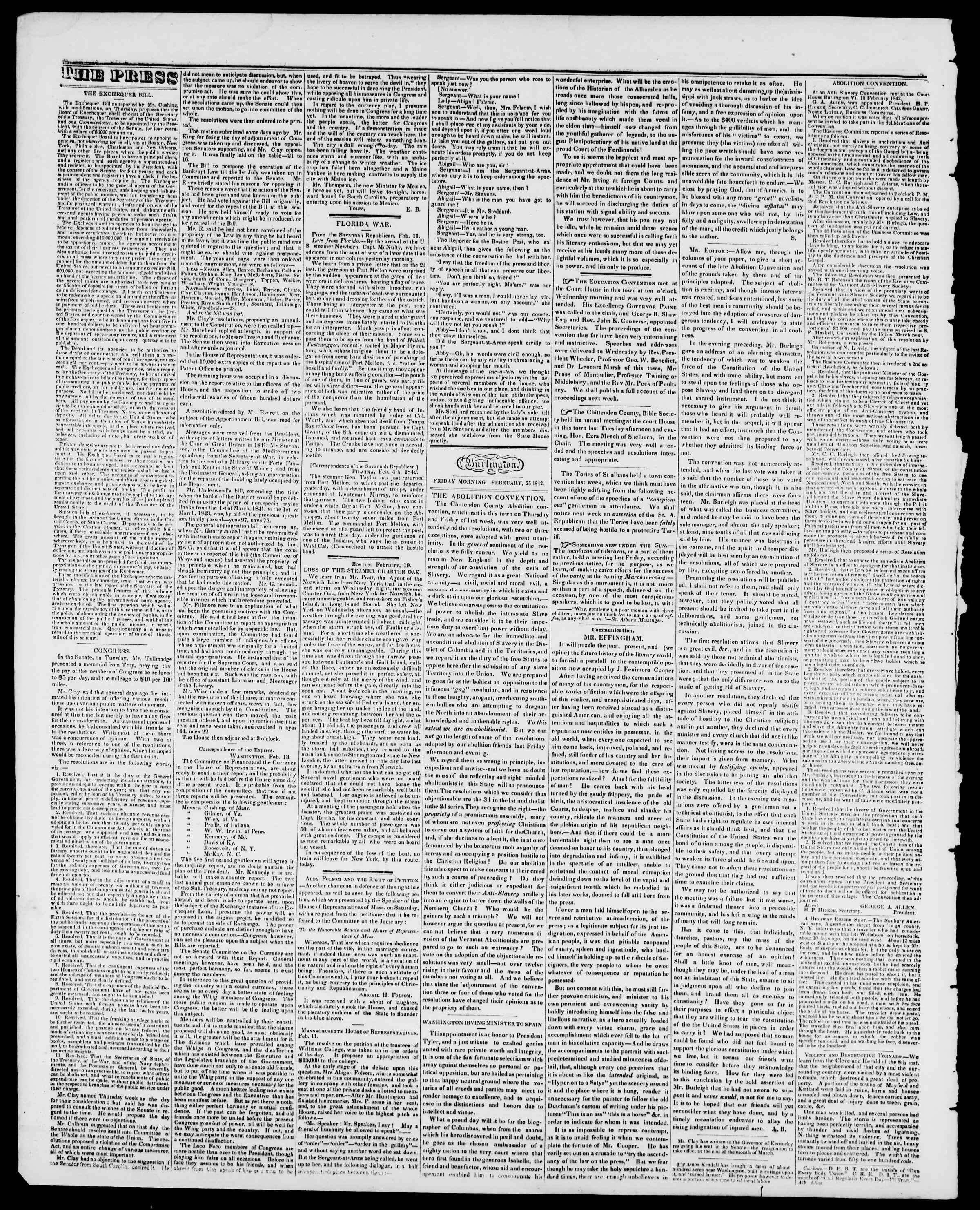 Newspaper of Burlington Free Press dated February 25, 1842 Page 2
