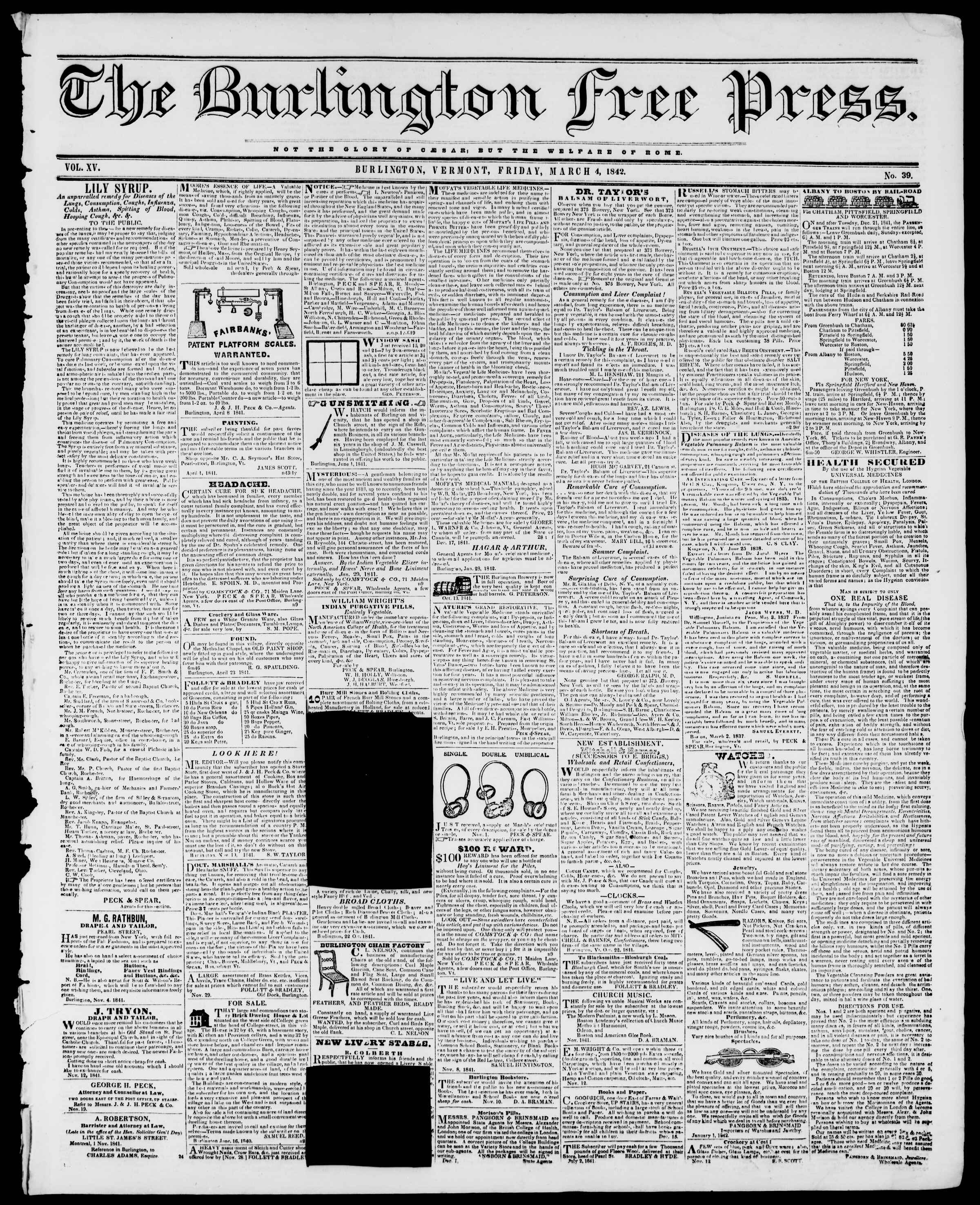Newspaper of Burlington Free Press dated March 4, 1842 Page 1