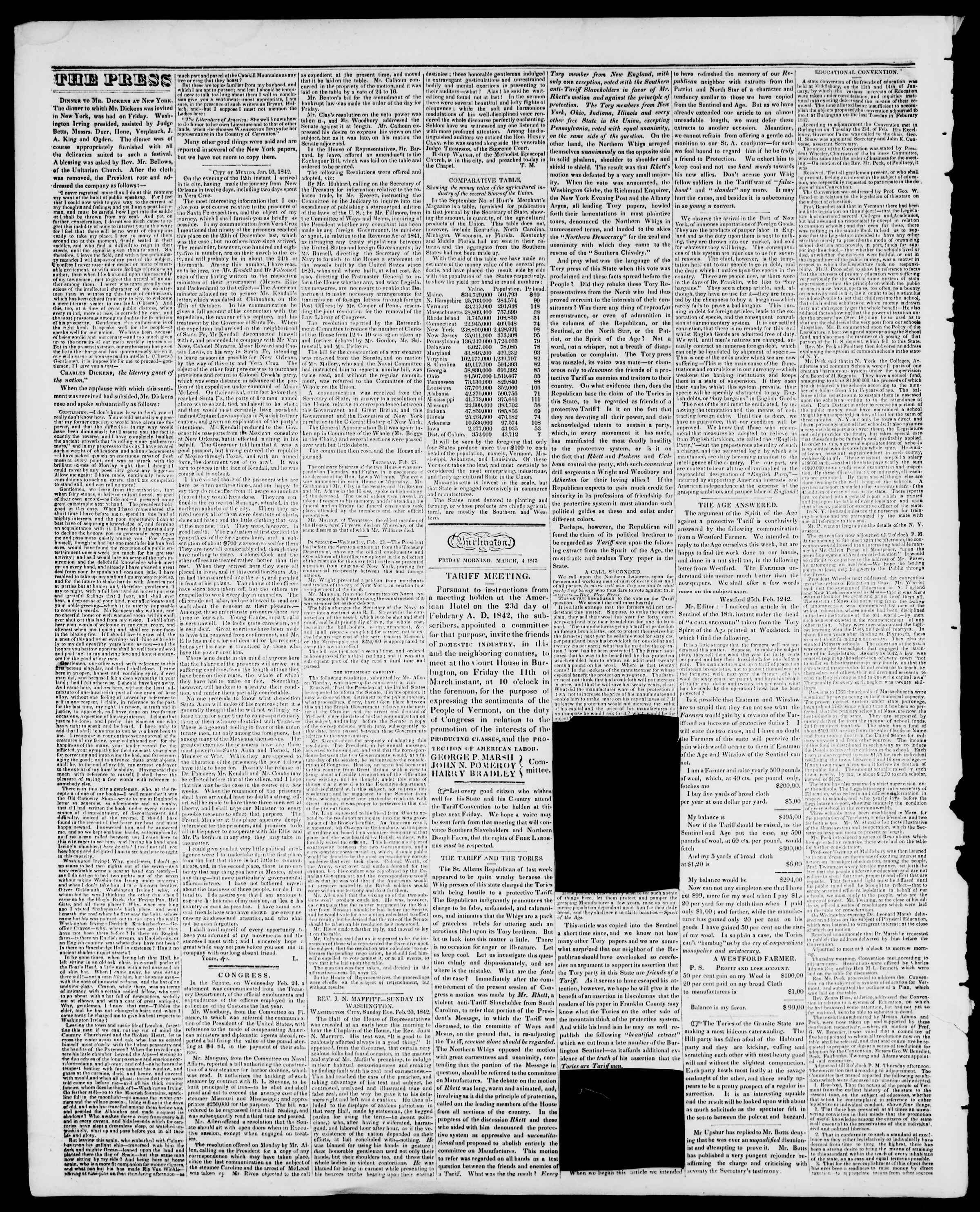 Newspaper of Burlington Free Press dated March 4, 1842 Page 2