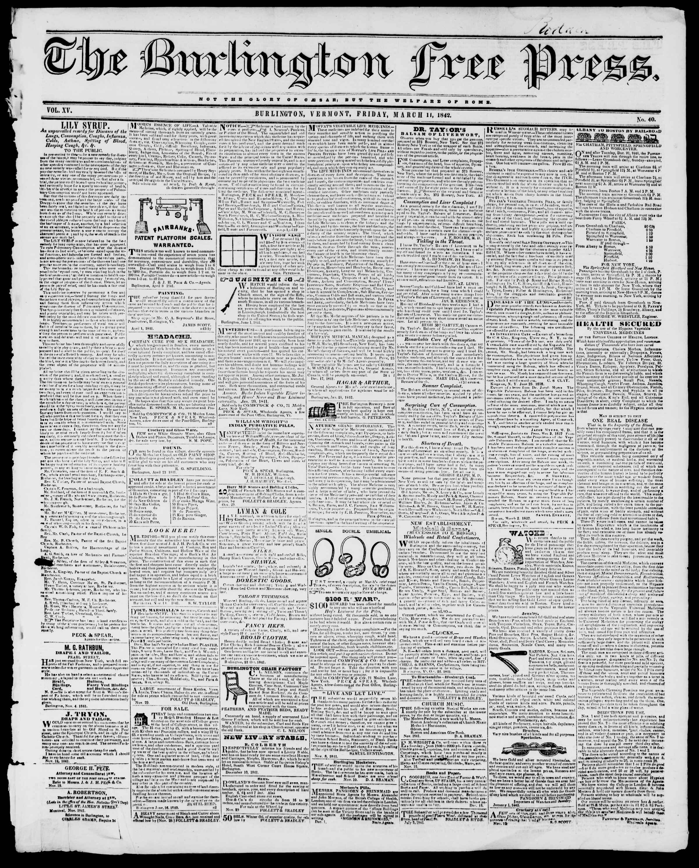 Newspaper of Burlington Free Press dated 11 Mart 1842 Page 1