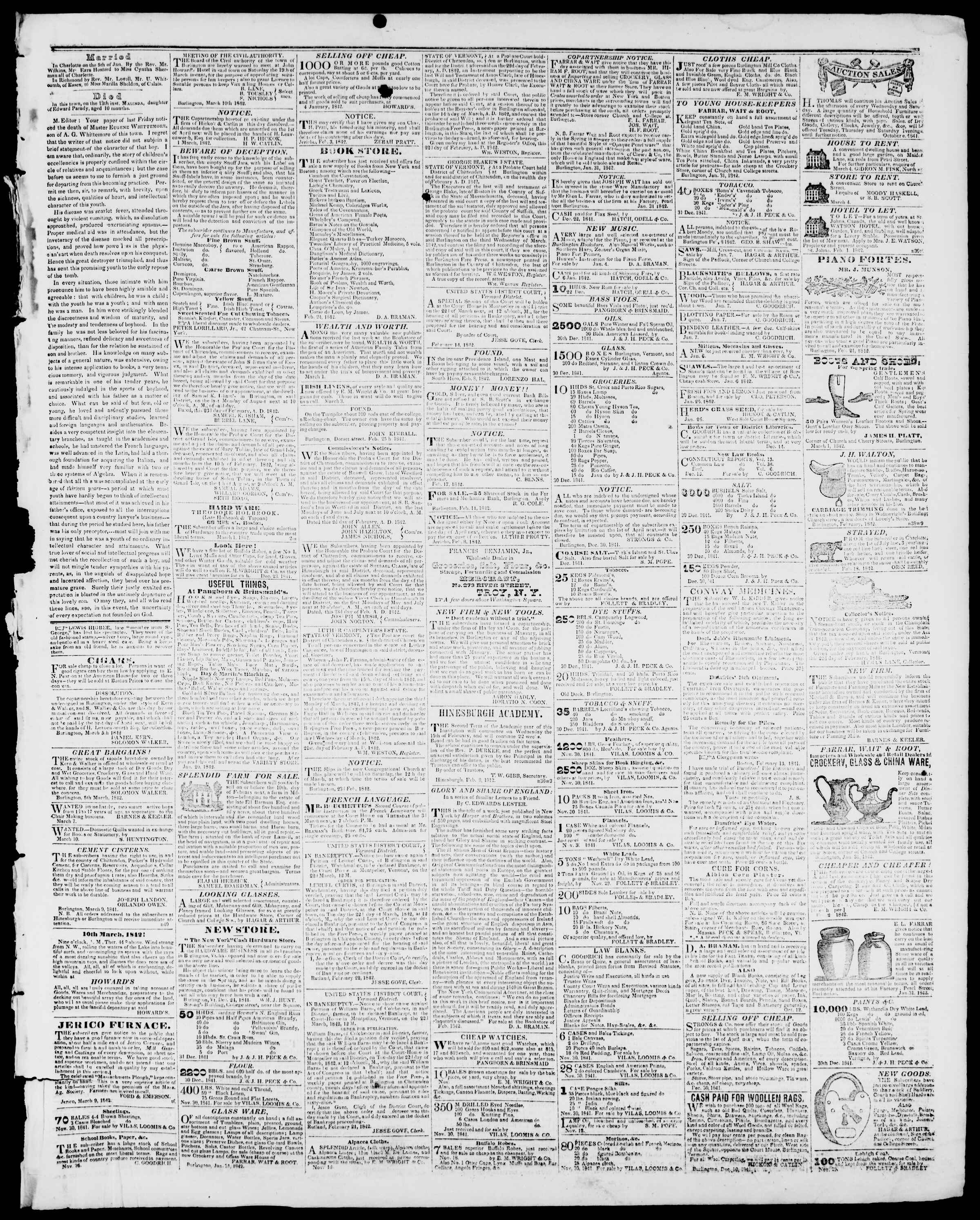 Newspaper of Burlington Free Press dated March 11, 1842 Page 3