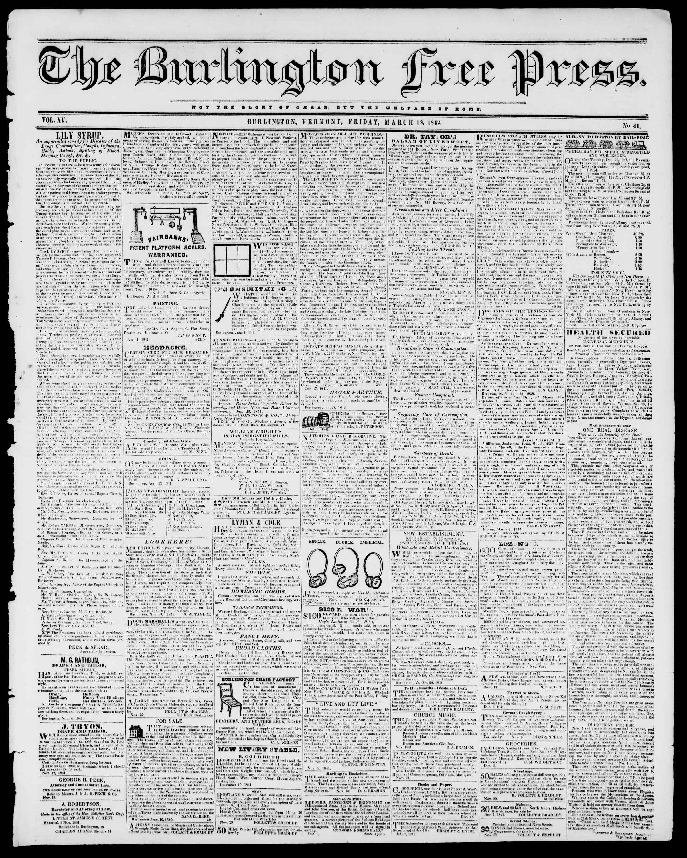 Newspaper of Burlington Free Press dated March 18, 1842 Page 1