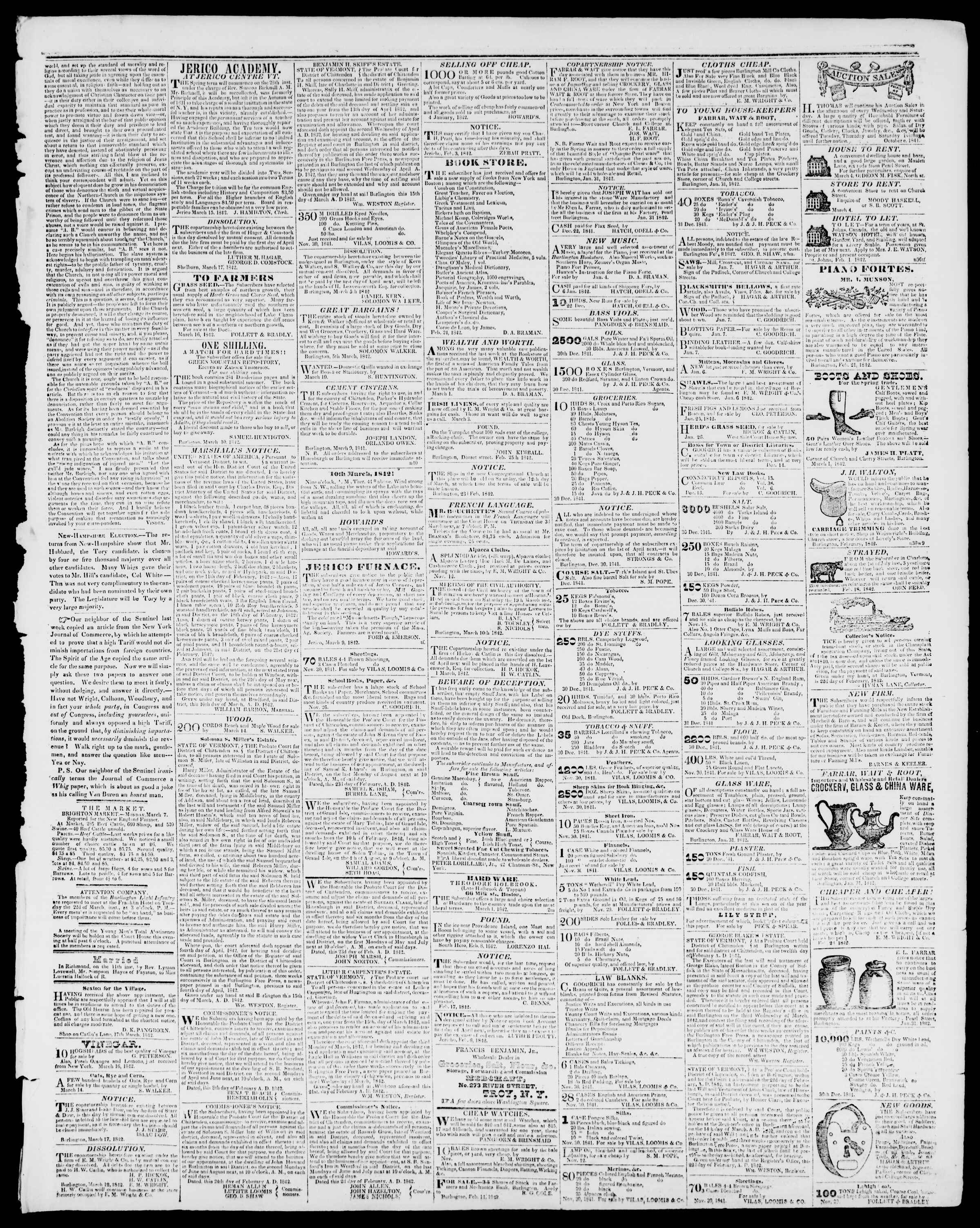 Newspaper of Burlington Free Press dated March 18, 1842 Page 3