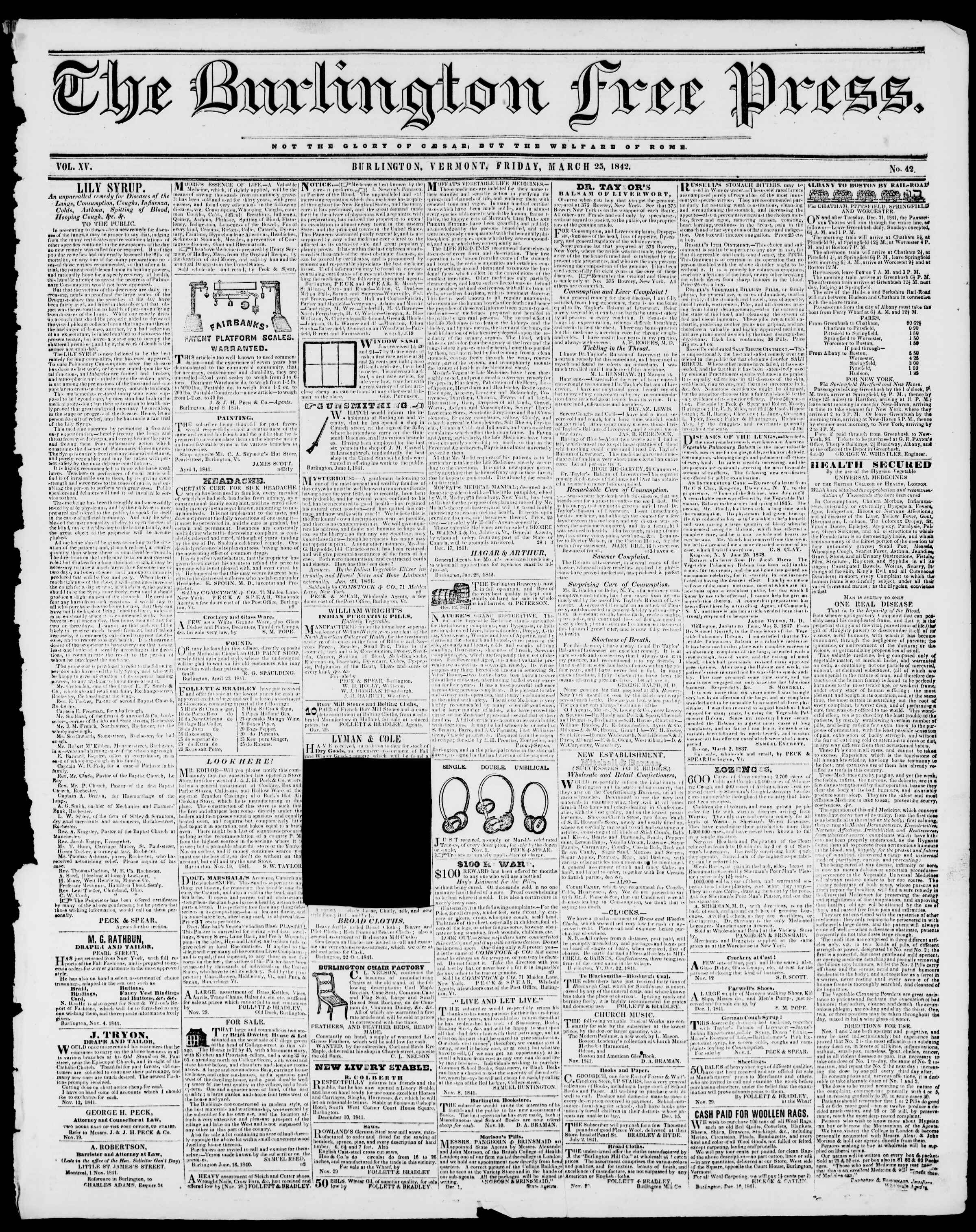 Newspaper of Burlington Free Press dated March 25, 1842 Page 1