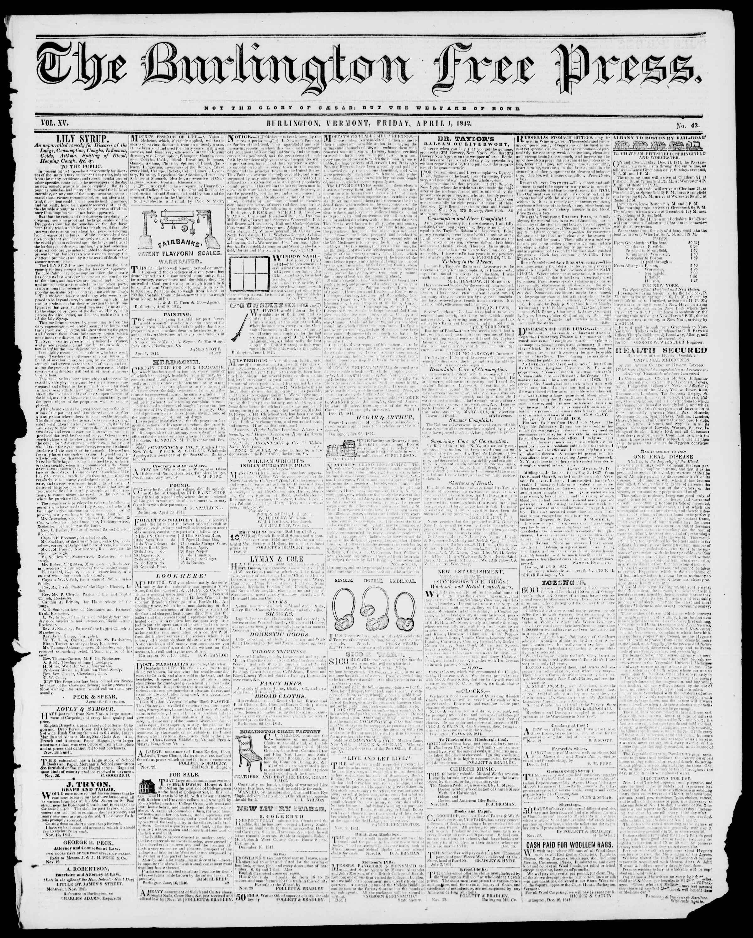 Newspaper of Burlington Free Press dated April 1, 1842 Page 1