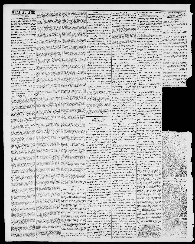Newspaper of Burlington Free Press dated 15 Nisan 1842 Page 2