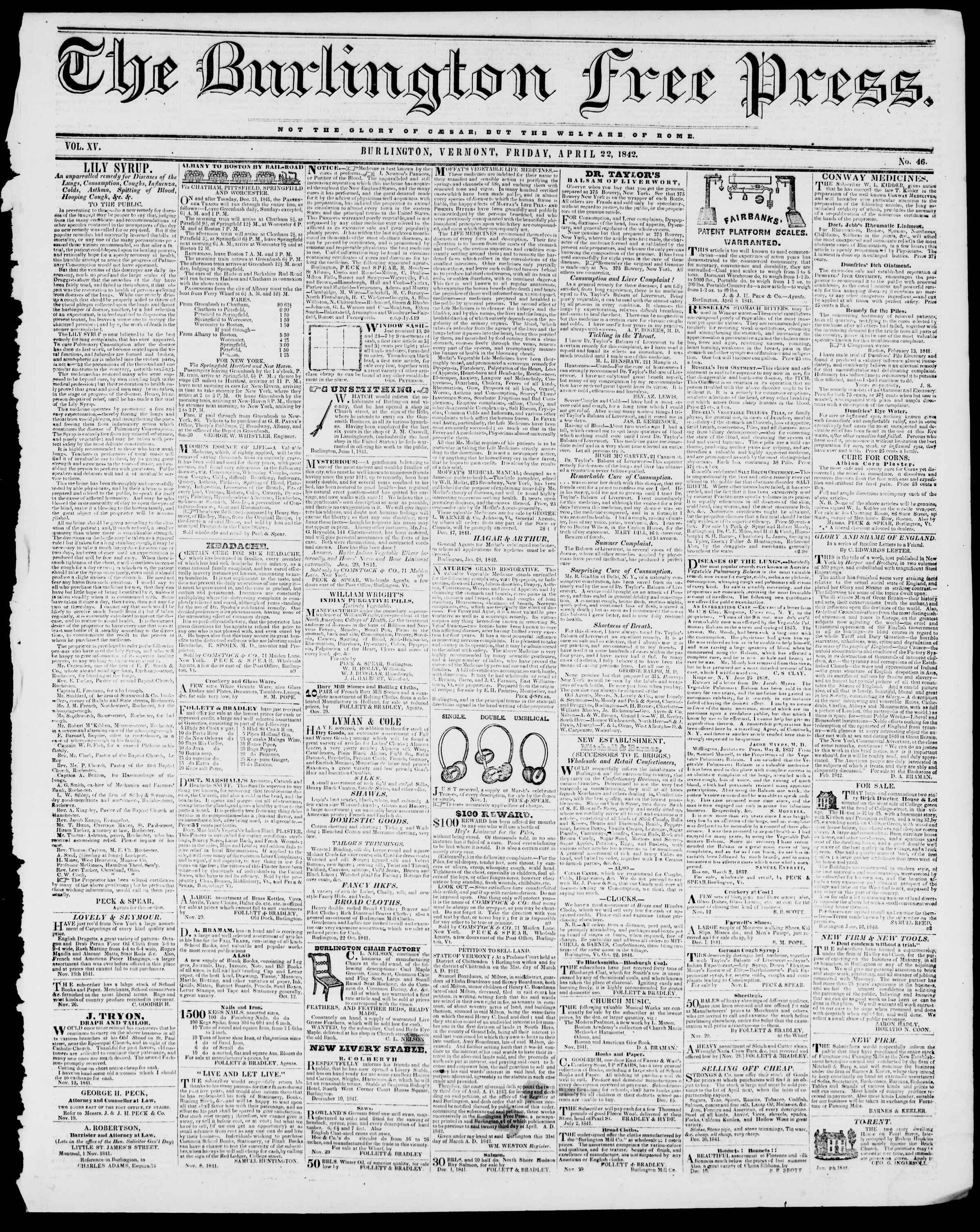 Newspaper of Burlington Free Press dated April 22, 1842 Page 1