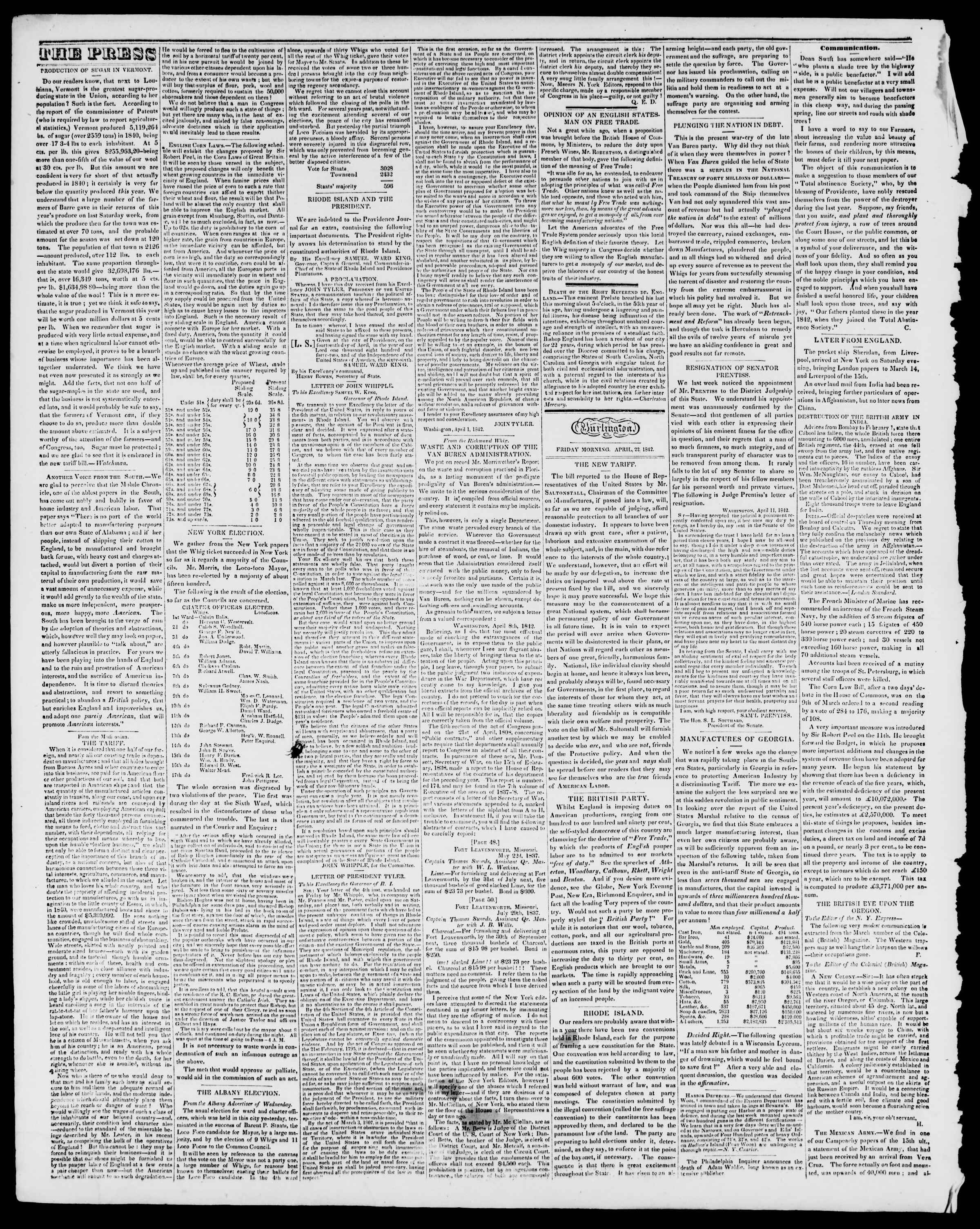 Newspaper of Burlington Free Press dated April 22, 1842 Page 2