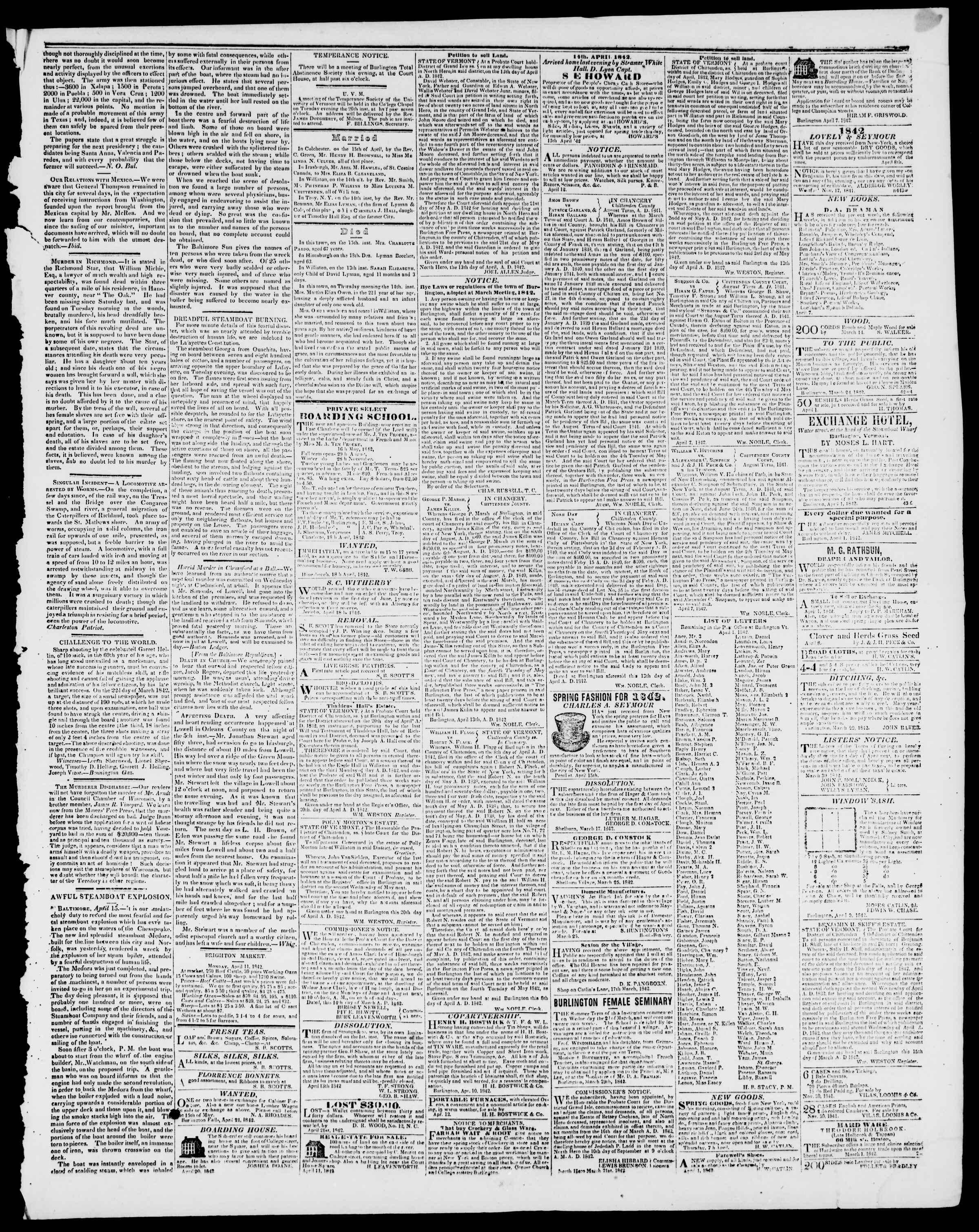Newspaper of Burlington Free Press dated April 22, 1842 Page 3