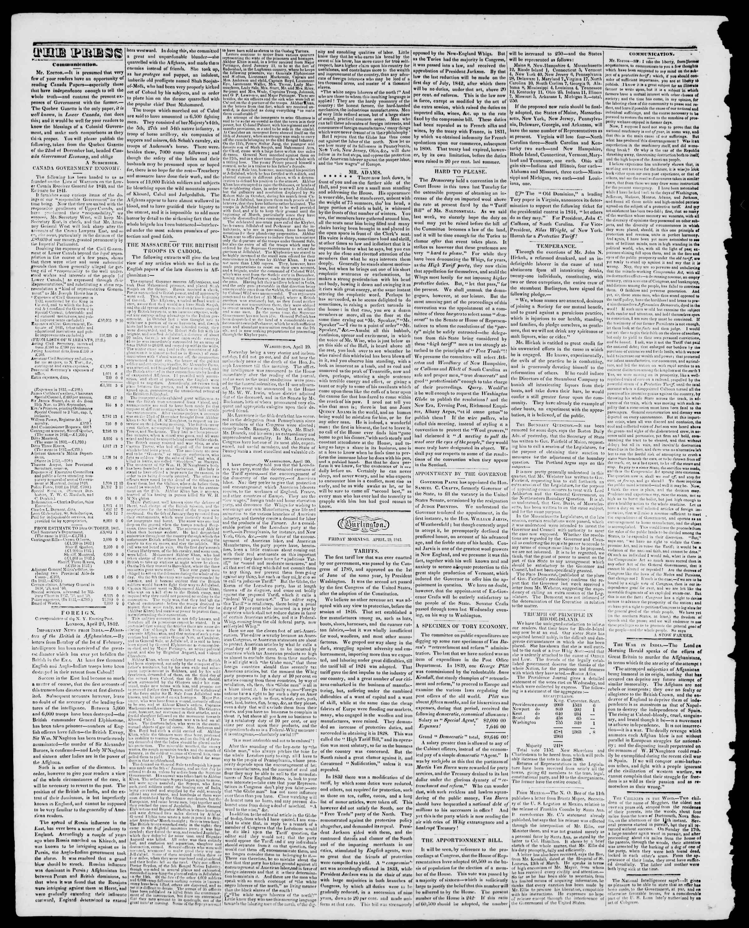 Newspaper of Burlington Free Press dated April 29, 1842 Page 2
