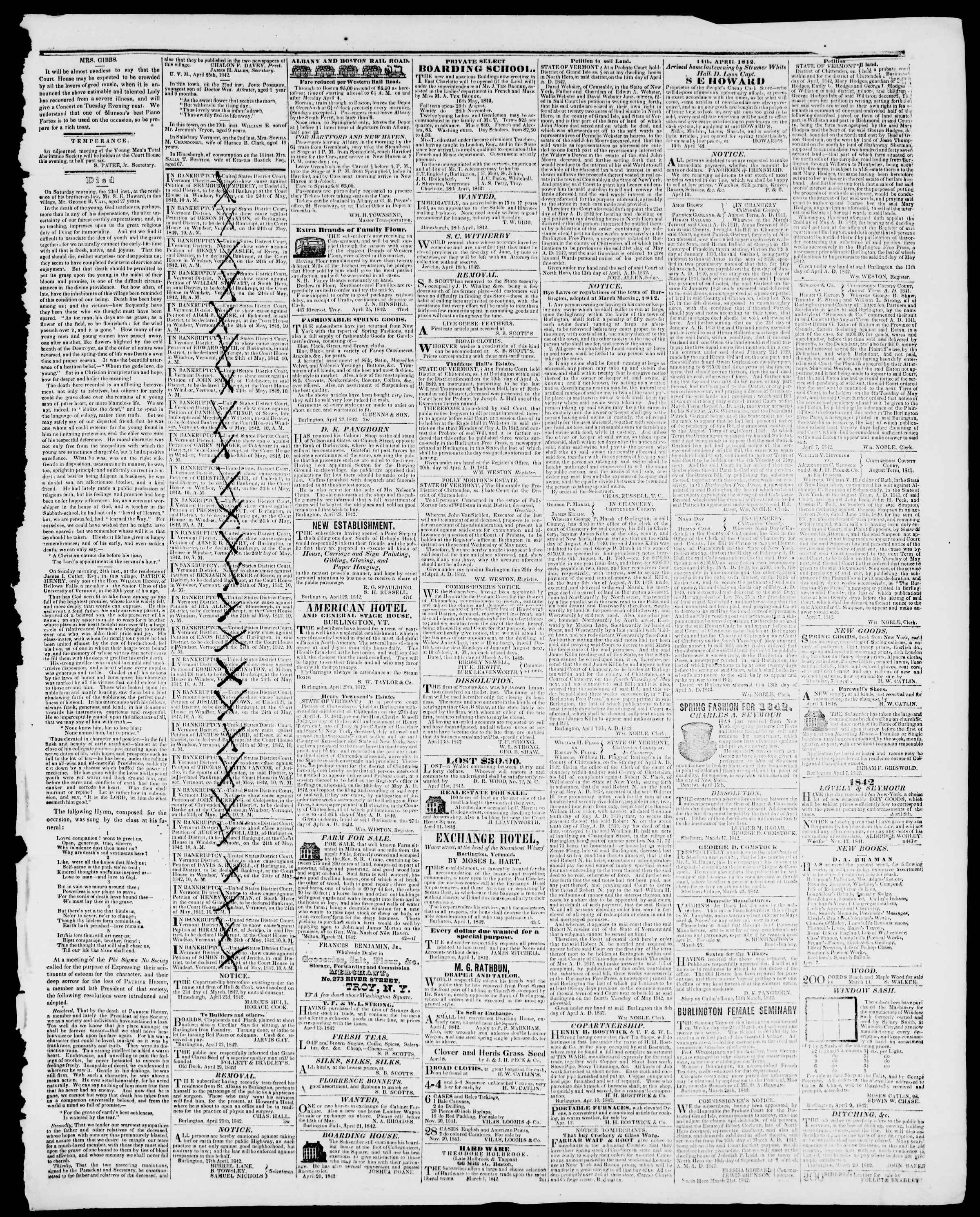 Newspaper of Burlington Free Press dated April 29, 1842 Page 3
