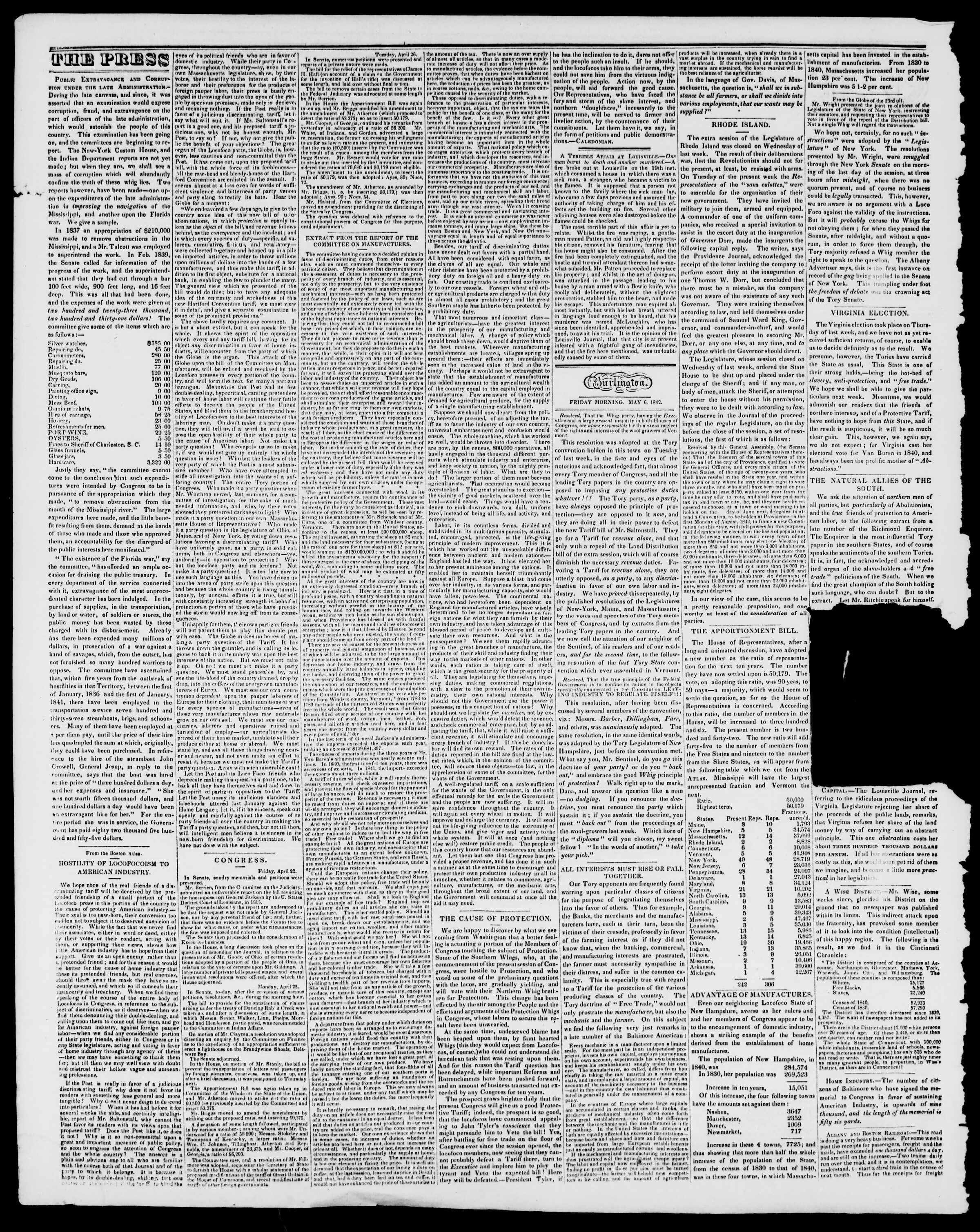 Newspaper of Burlington Free Press dated May 6, 1842 Page 2