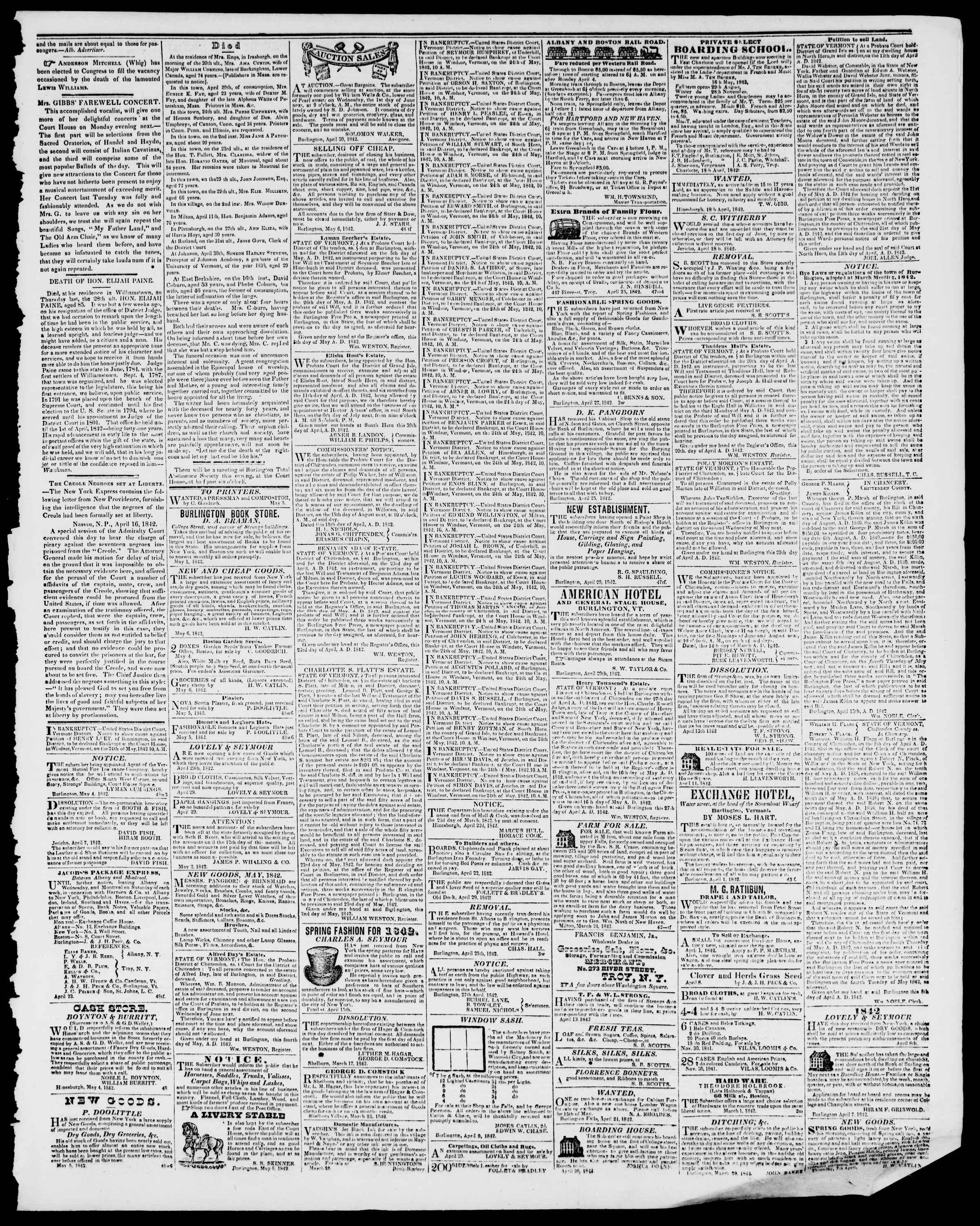 Newspaper of Burlington Free Press dated May 6, 1842 Page 3