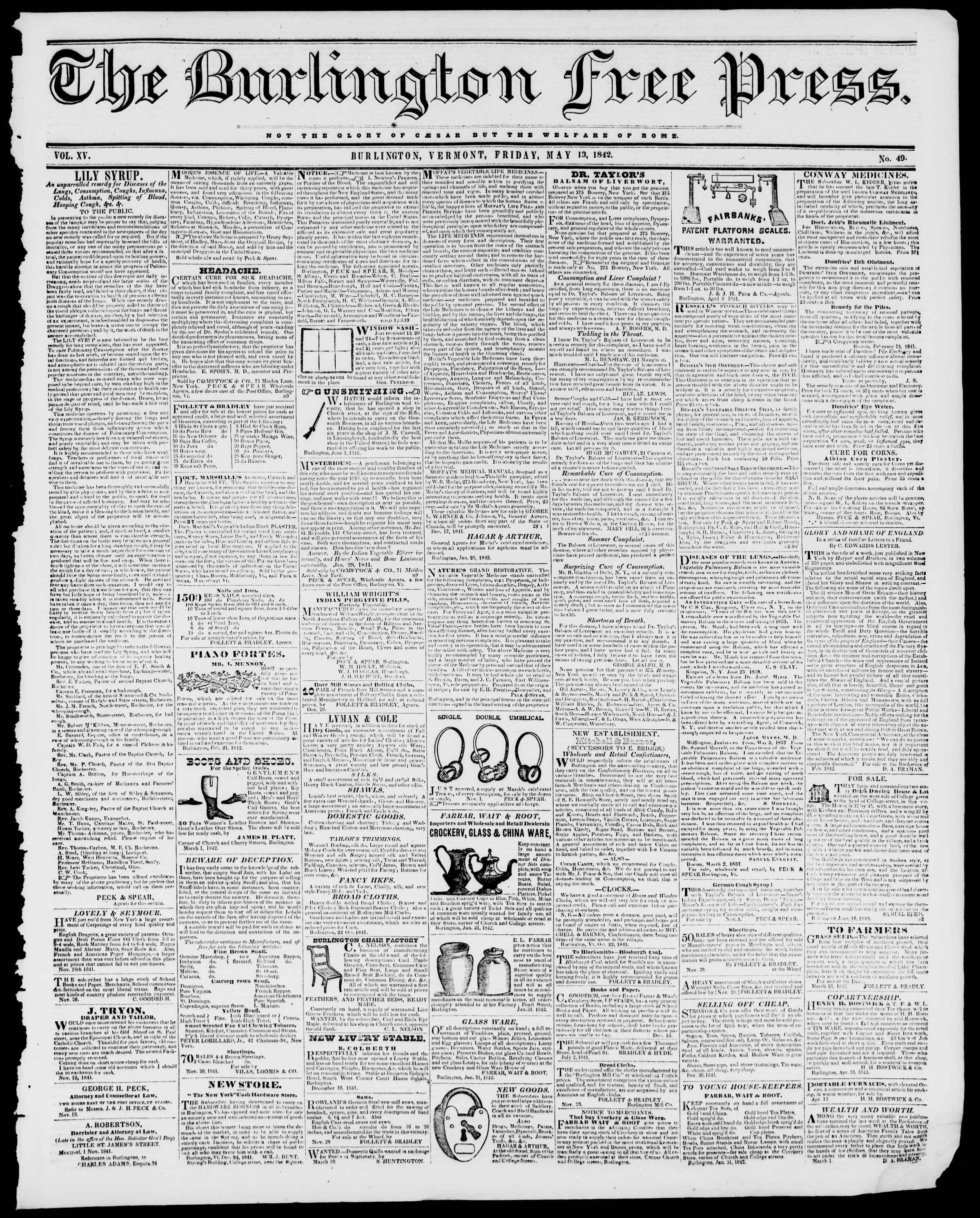 Newspaper of Burlington Free Press dated May 13, 1842 Page 1