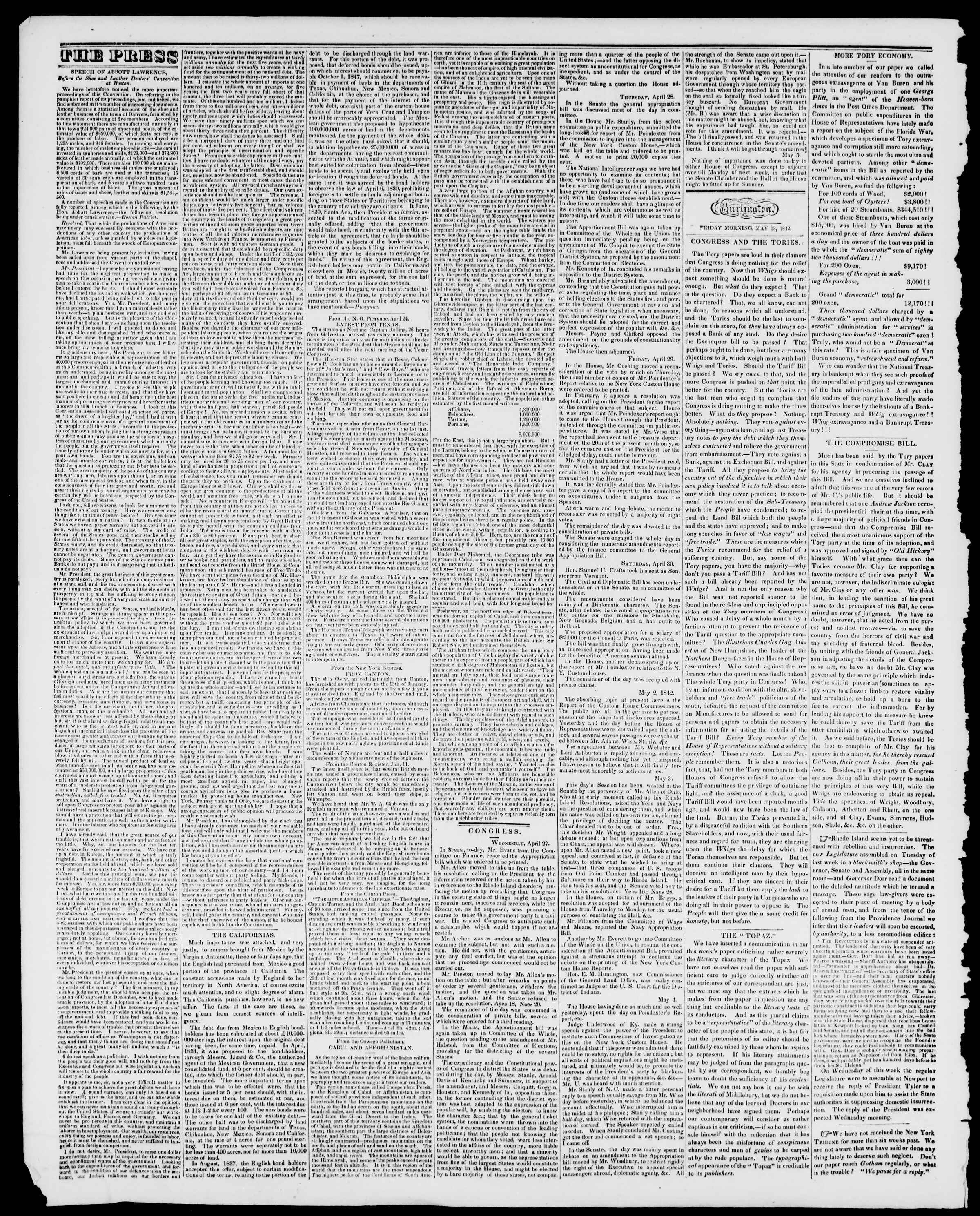 Newspaper of Burlington Free Press dated May 13, 1842 Page 2