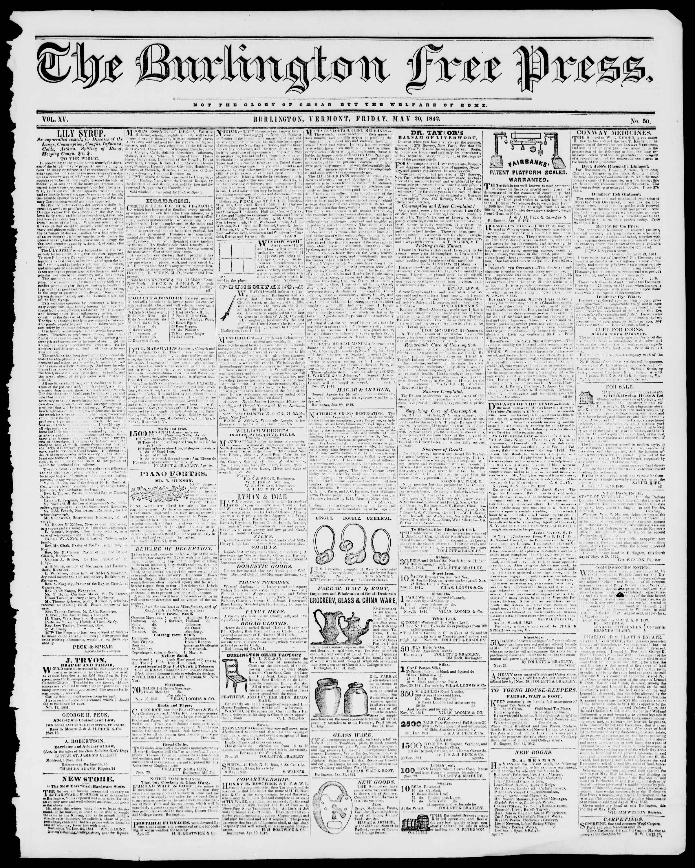 Newspaper of Burlington Free Press dated May 20, 1842 Page 1