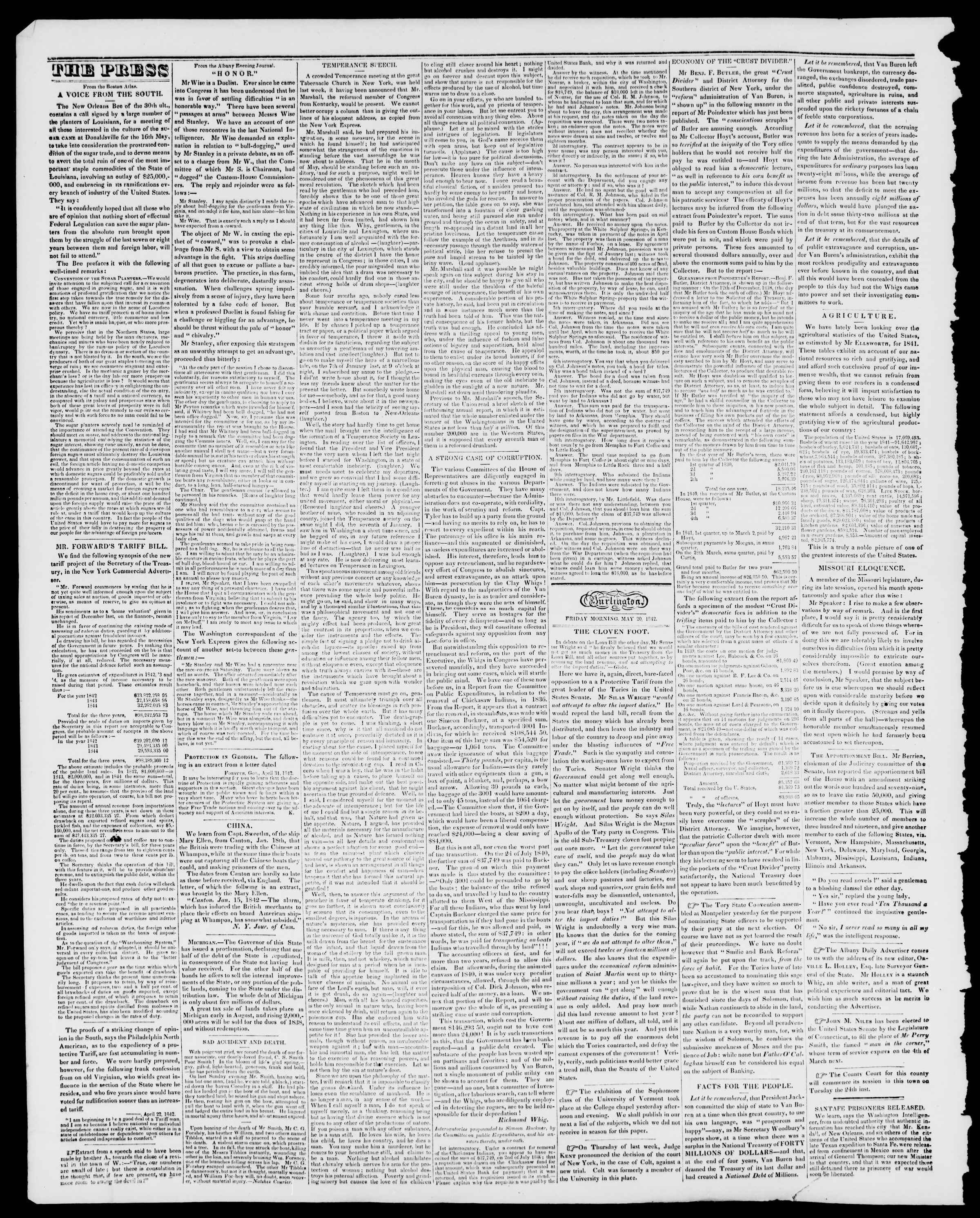 Newspaper of Burlington Free Press dated May 20, 1842 Page 2